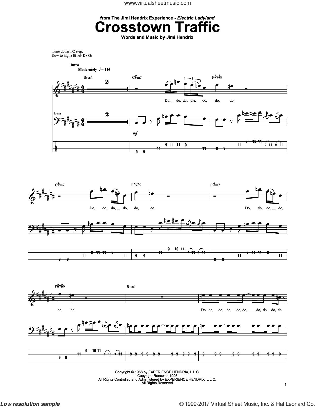 Crosstown Traffic sheet music for bass (tablature) (bass guitar) by Jimi Hendrix, intermediate skill level