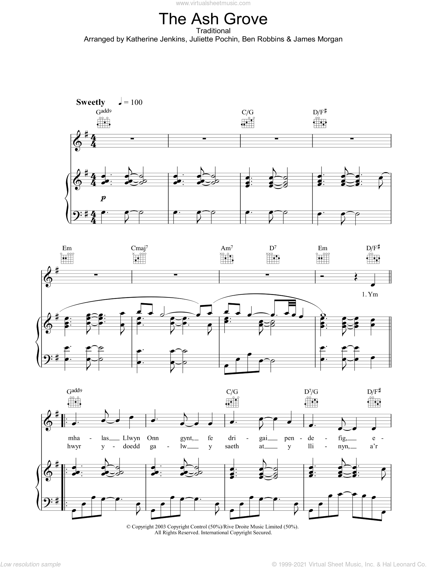The Ash Grove sheet music for voice, piano or guitar by Katherine Jenkins, Ben Robbins, James Morgan, Juliette Pochin and Miscellaneous, classical score, intermediate skill level