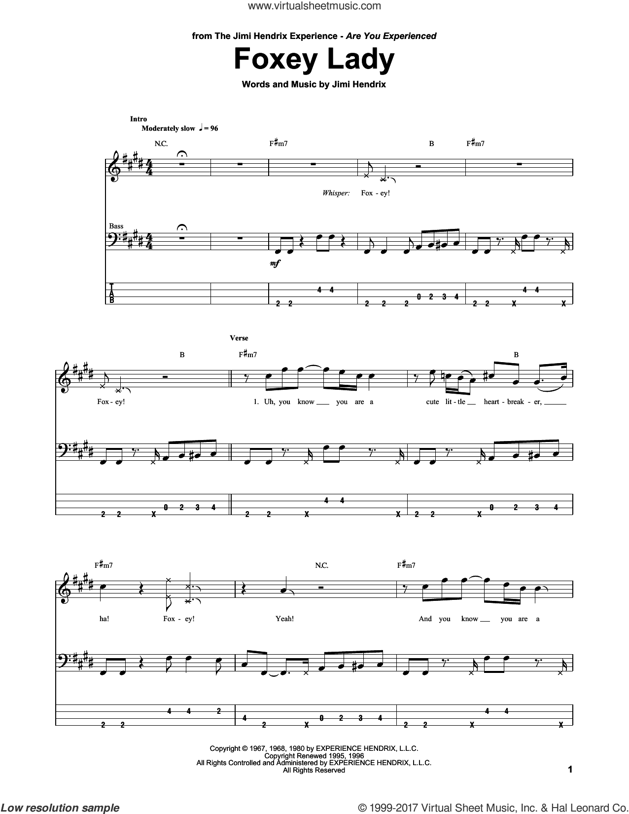 Foxey Lady sheet music for bass (tablature) (bass guitar) by Jimi Hendrix, intermediate skill level