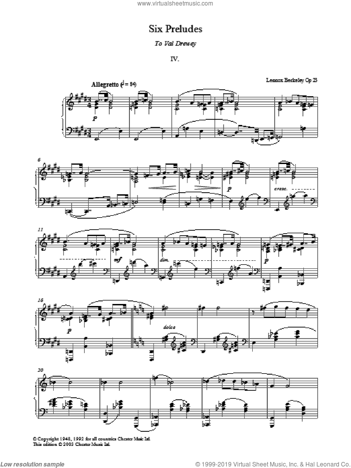 Prelude No. 4 (from Six Preludes) sheet music for piano solo by Lennox Berkeley, classical score, intermediate. Score Image Preview.