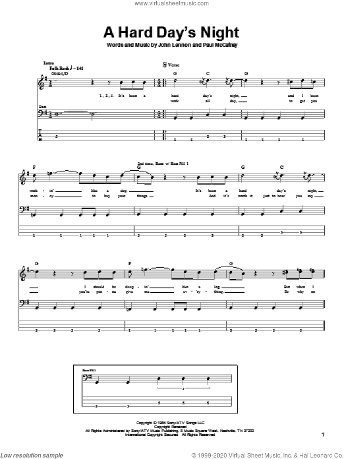 A Hard Day's Night sheet music for bass (tablature) (bass guitar) by Paul McCartney, The Beatles and John Lennon. Score Image Preview.