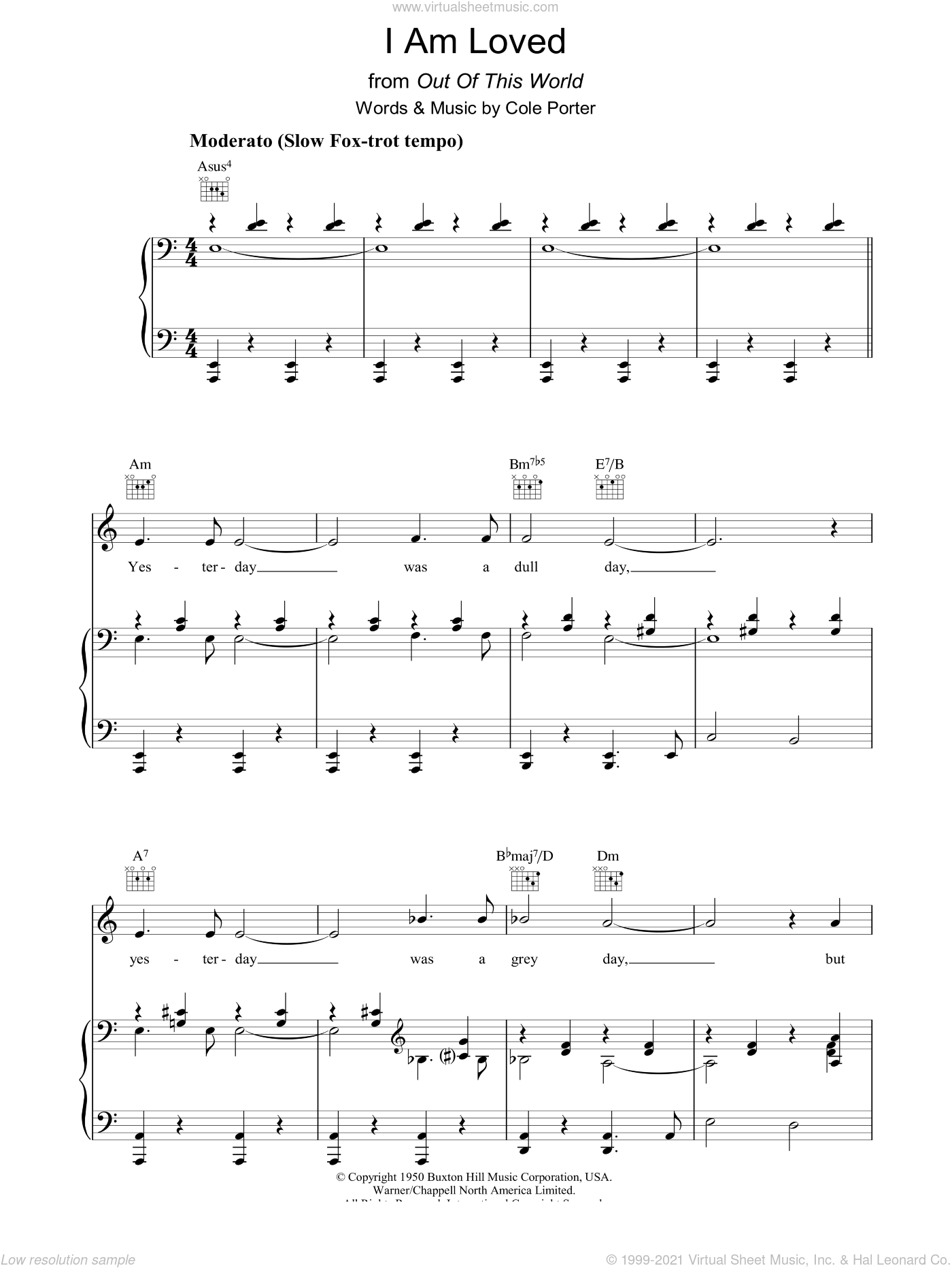 I Am Loved sheet music for voice, piano or guitar by Cole Porter, intermediate skill level
