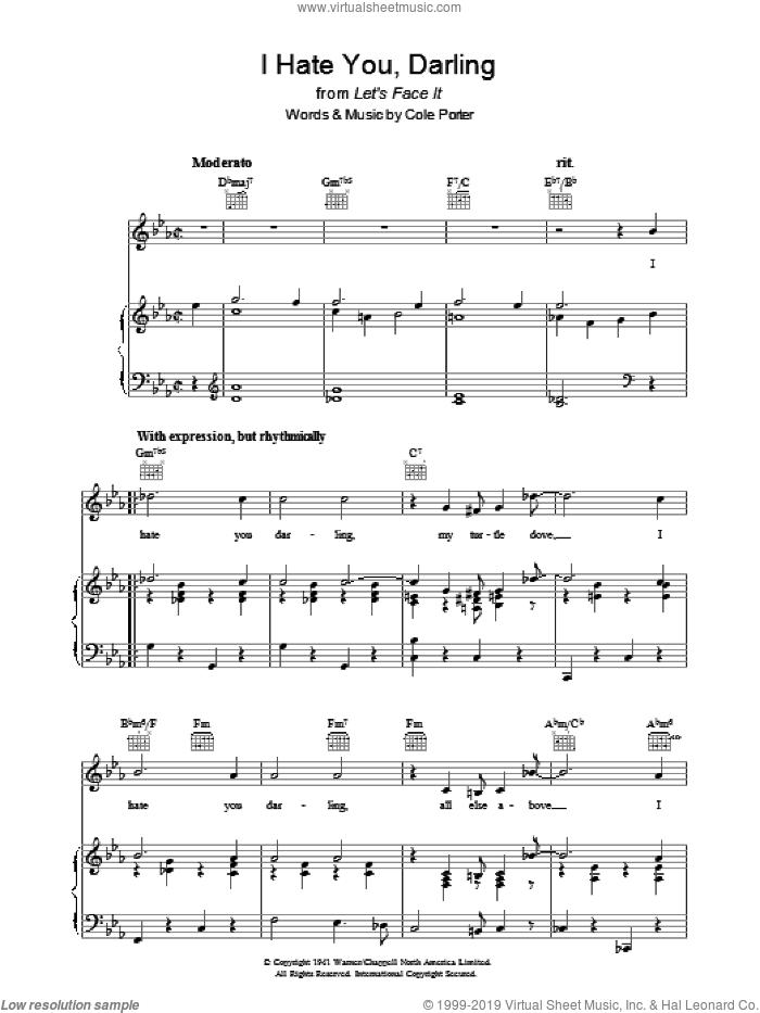 I Hate You, Darling sheet music for voice, piano or guitar by Cole Porter, intermediate skill level