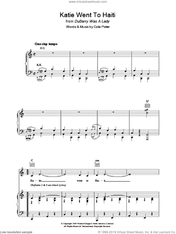 Katie Went To Haiti sheet music for voice, piano or guitar by Cole Porter, intermediate