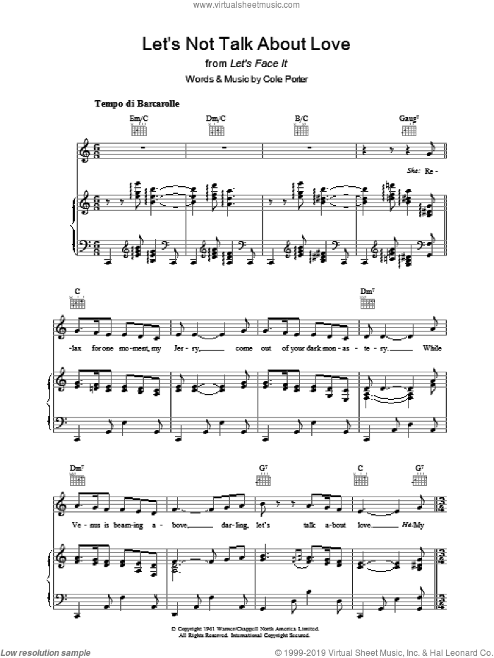 Let's Not Talk About Love sheet music for voice, piano or guitar by Cole Porter, intermediate skill level