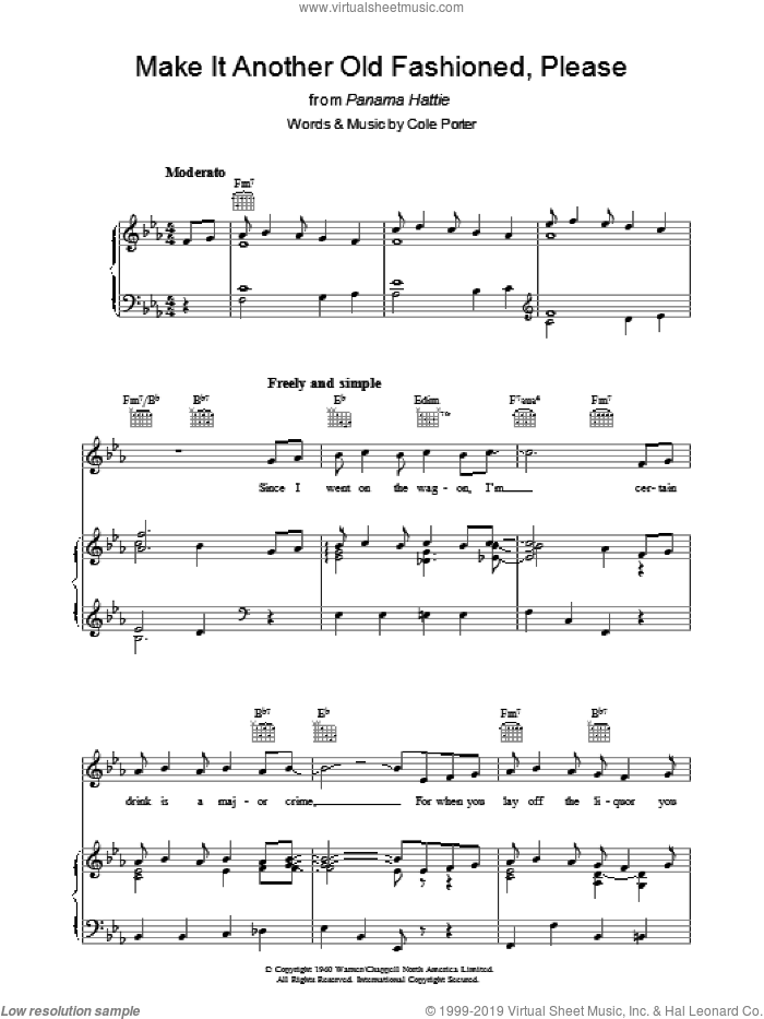 Make It Another Old Fashioned, Please sheet music for voice, piano or guitar by Cole Porter, intermediate. Score Image Preview.