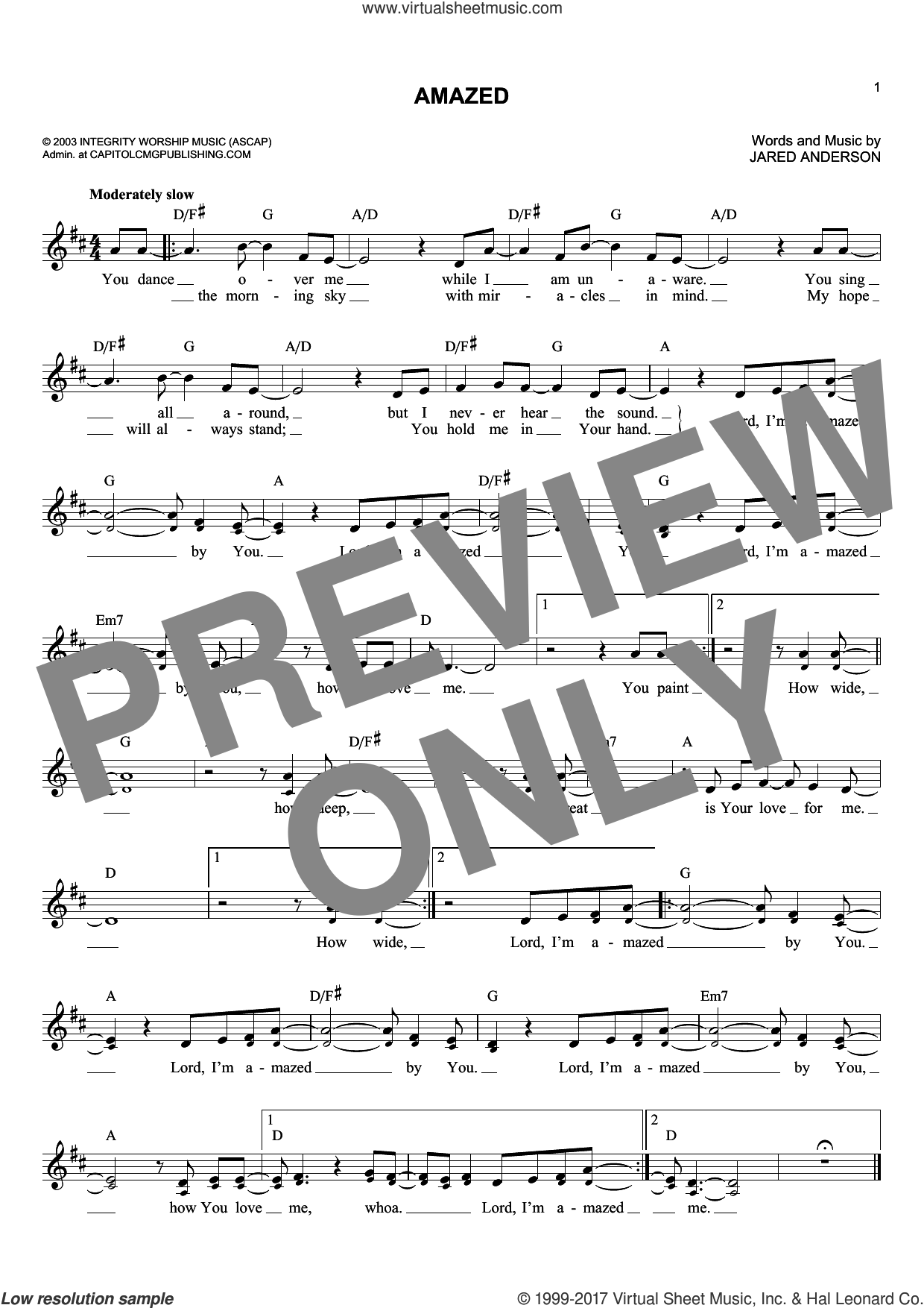Amazed sheet music for voice and other instruments (fake book) by Phillips, Craig & Dean and Jared Anderson. Score Image Preview.