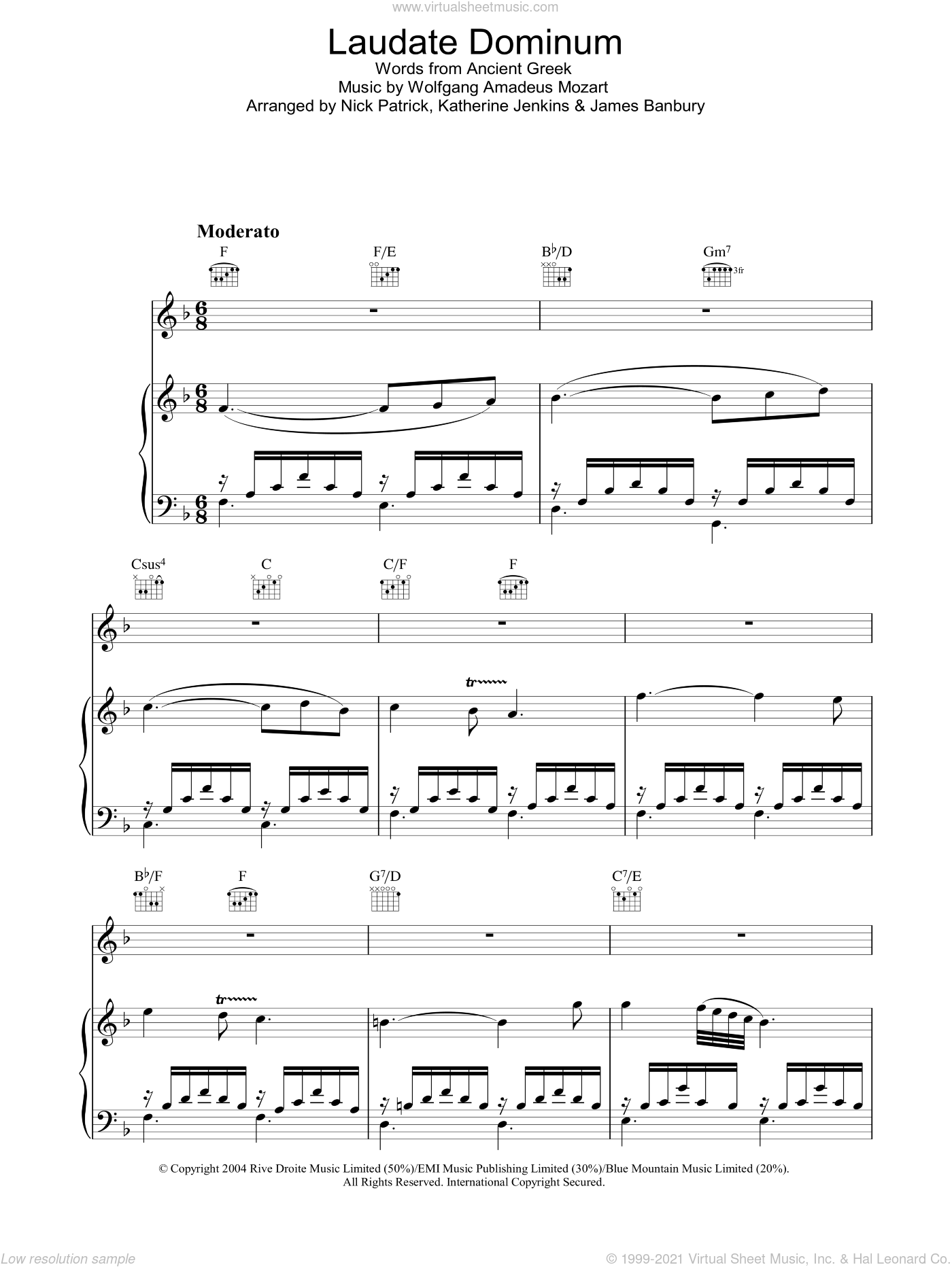 Laudate Dominum sheet music for voice, piano or guitar by Katherine Jenkins, James Banbury, Nick Patrick and Wolfgang Amadeus Mozart, classical score, intermediate skill level