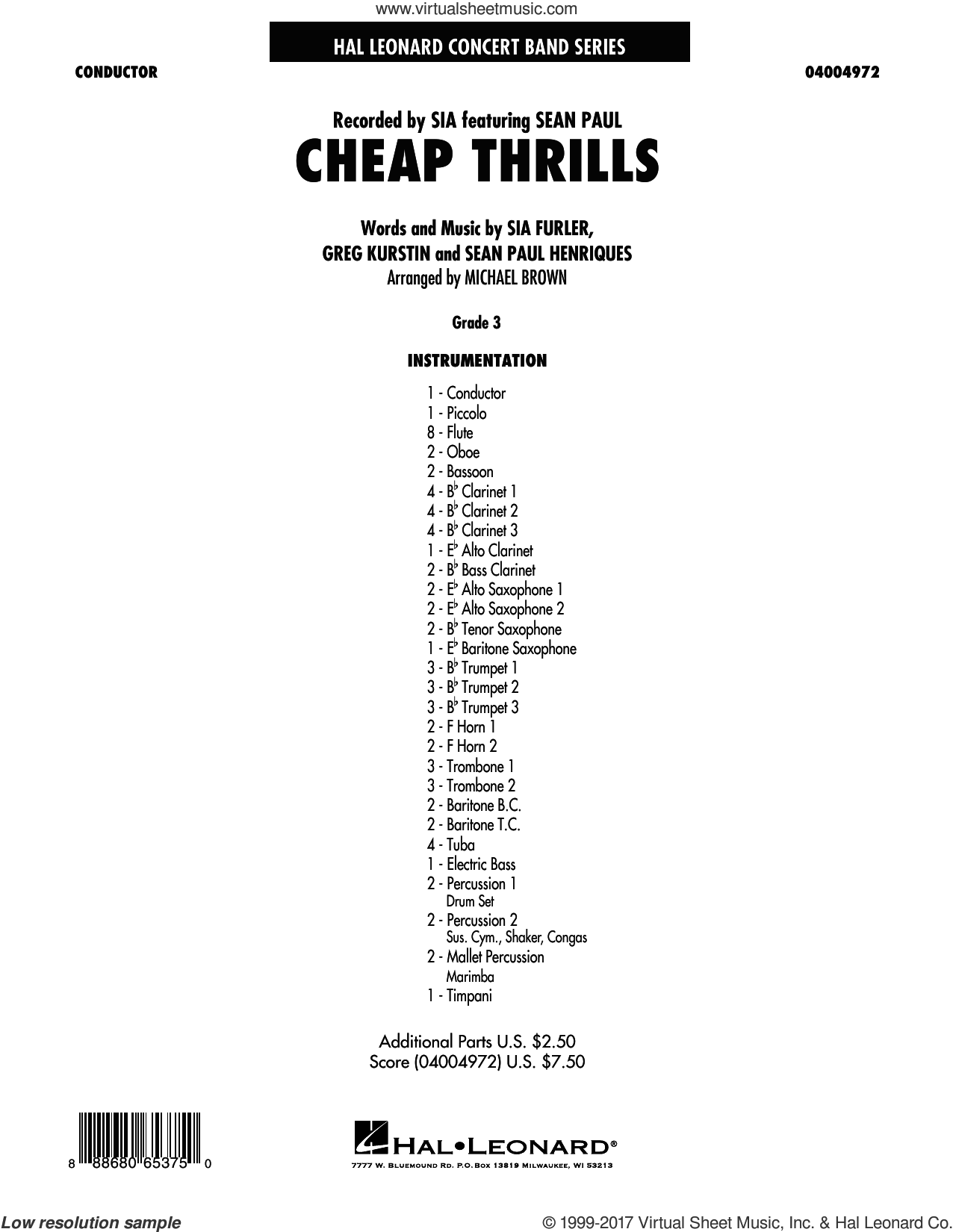 Cheap Thrills (COMPLETE) sheet music for concert band by Michael Brown, Greg Kurstin, Sia feat. Sean Paul and Sia Furler, intermediate skill level