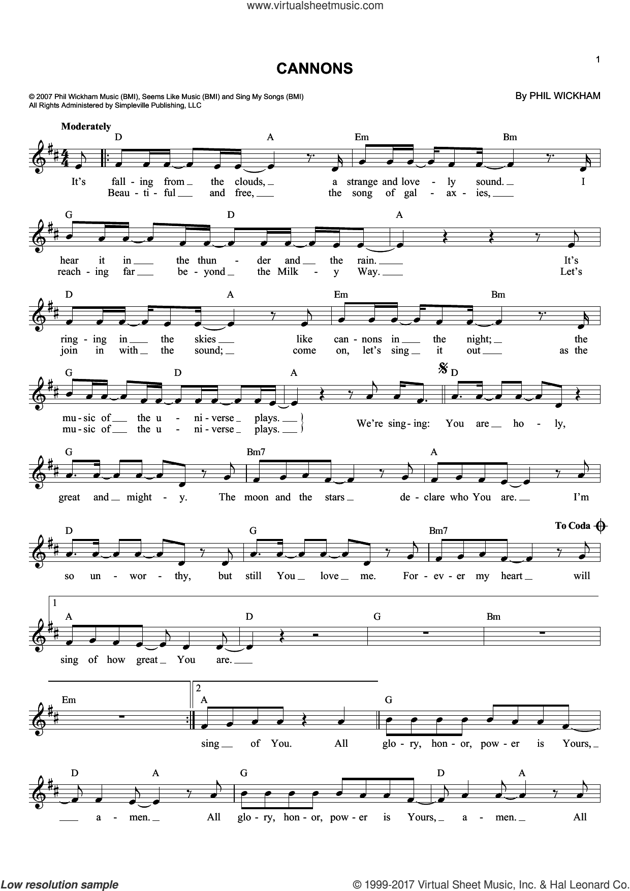 Cannons sheet music for voice and other instruments (fake book) by Phil Wickham, intermediate skill level