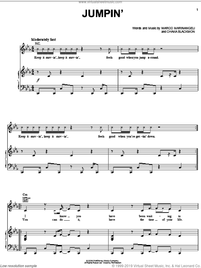 Jumpin' sheet music for voice, piano or guitar by Marco Marinangeli. Score Image Preview.
