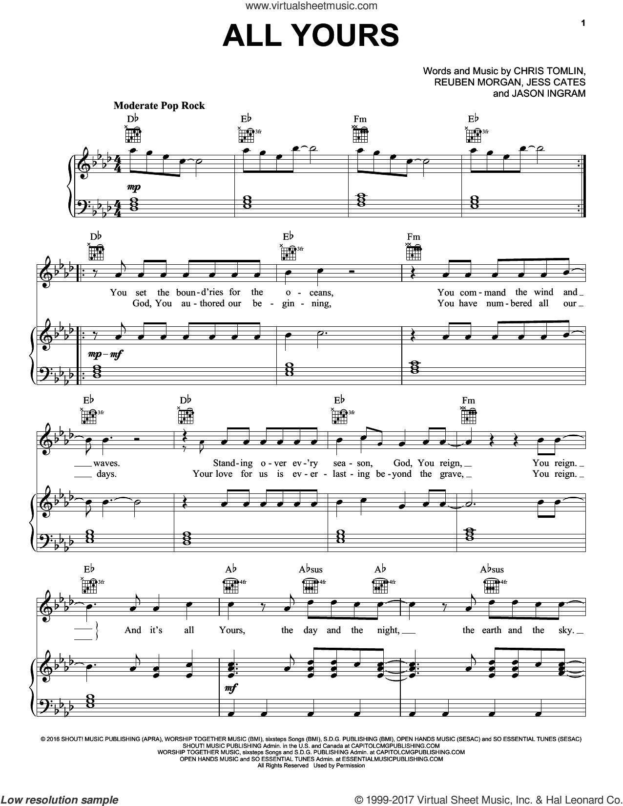 All Yours sheet music for voice, piano or guitar by Chris Tomlin, Jason Ingram, Jess Cates and Reuben Morgan, intermediate skill level