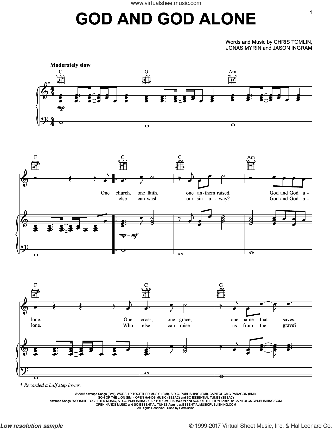 God and God Alone sheet music for voice, piano or guitar by Chris Tomlin, Jason Ingram and Jonas Myrin, intermediate skill level