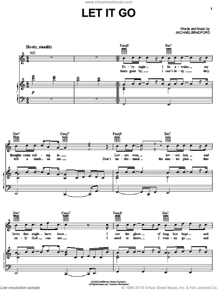 Let It Go sheet music for voice, piano or guitar by Michael Bradford. Score Image Preview.
