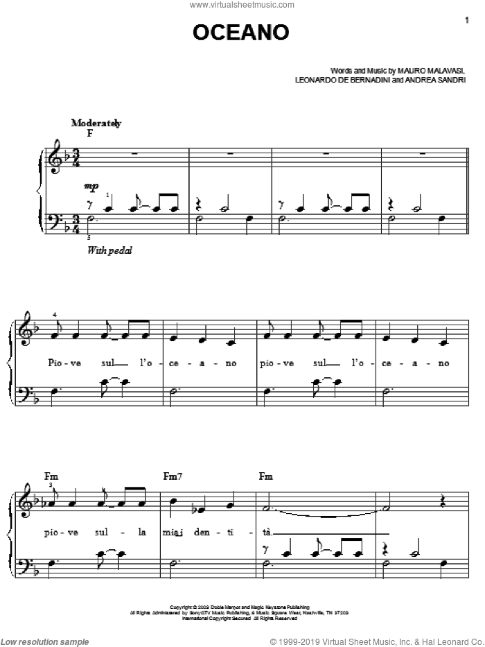 Oceano sheet music for piano solo by Mauro Malavasi and Josh Groban. Score Image Preview.
