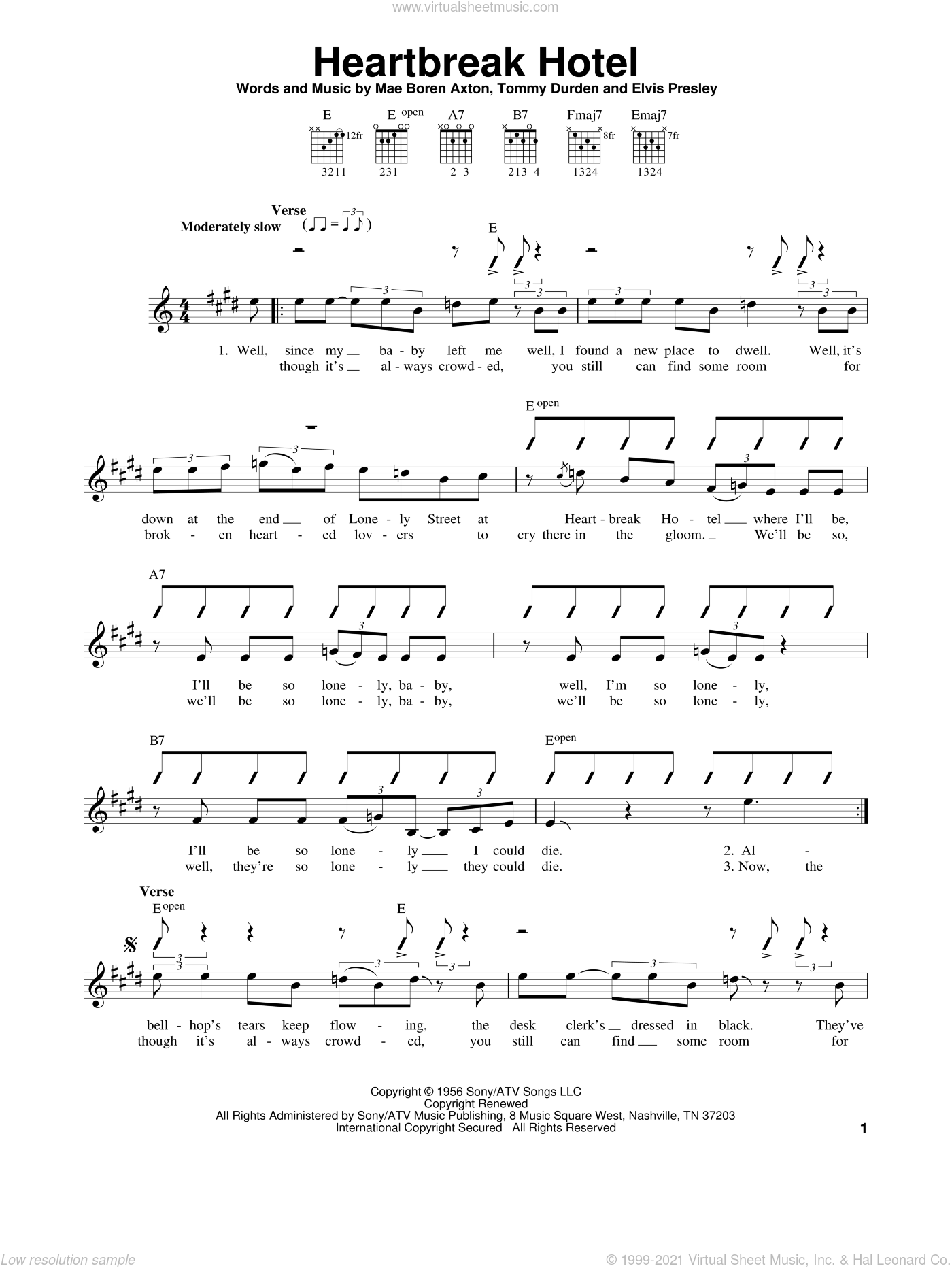 Heartbreak Hotel sheet music for guitar solo (chords) by Elvis Presley, Mae Boren Axton and Tommy Durden, easy guitar (chords)