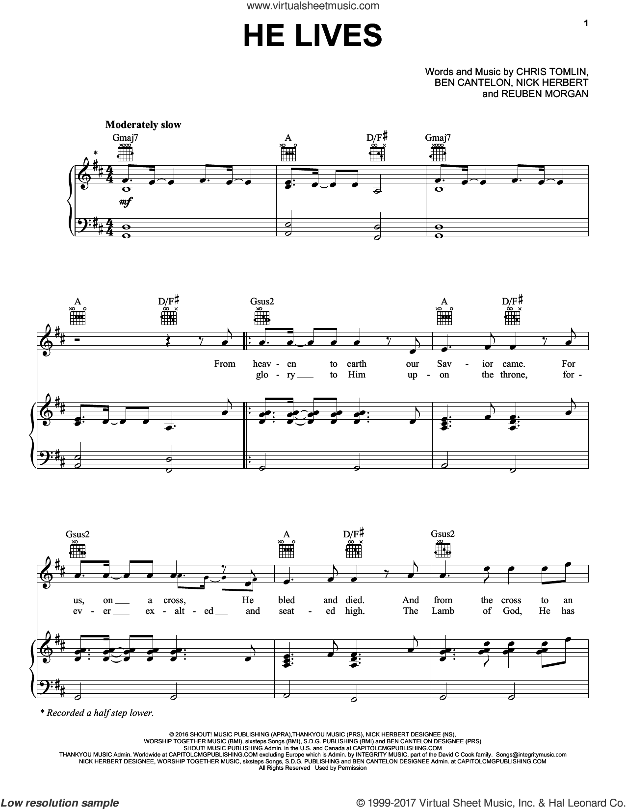 He Lives sheet music for voice, piano or guitar by Chris Tomlin and Reuben Morgan, intermediate voice, piano or guitar. Score Image Preview.