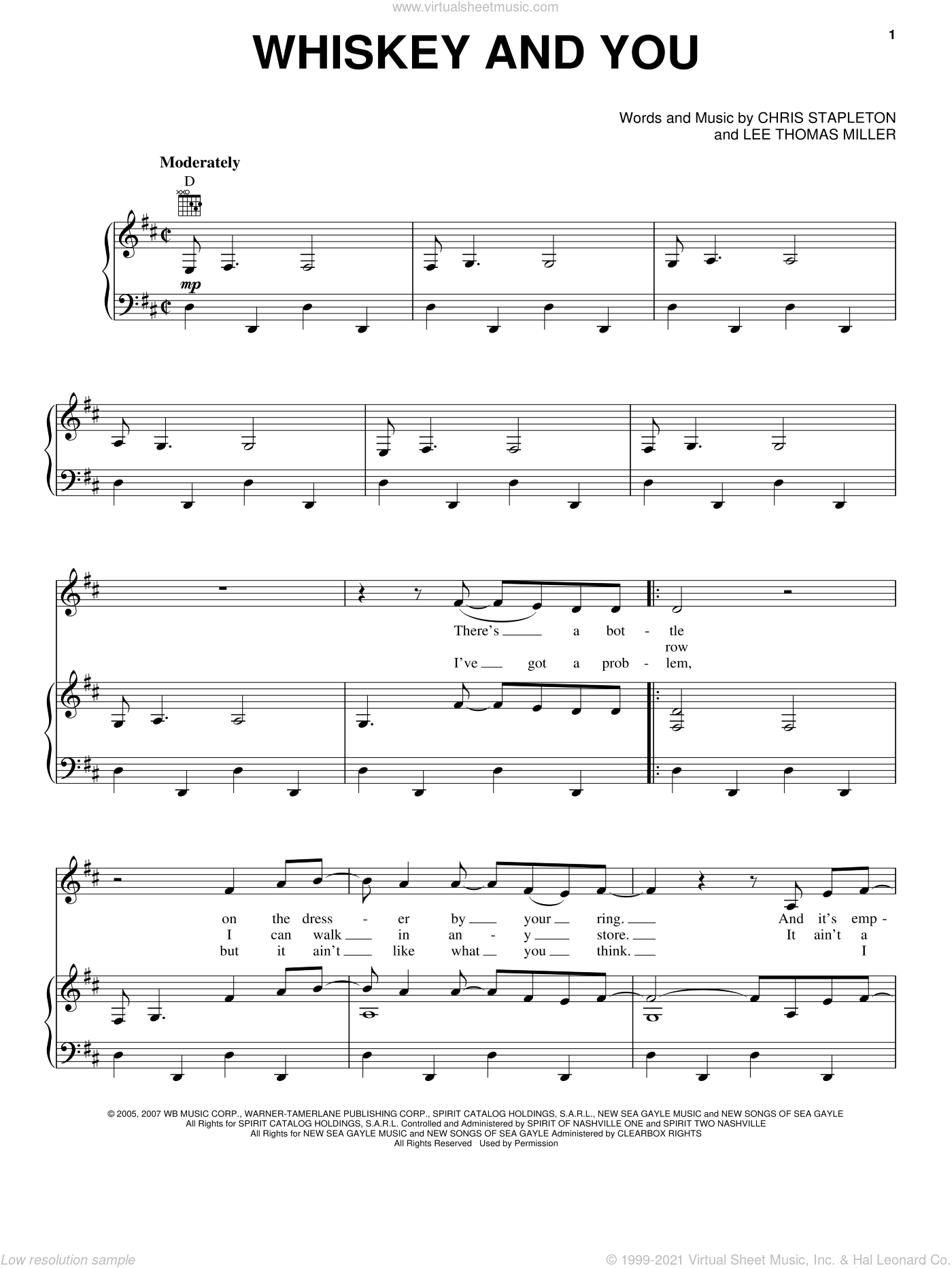 Whiskey And You sheet music for voice, piano or guitar by Chris Stapleton, Tim McGraw and Lee Thomas Miller, intermediate voice, piano or guitar. Score Image Preview.
