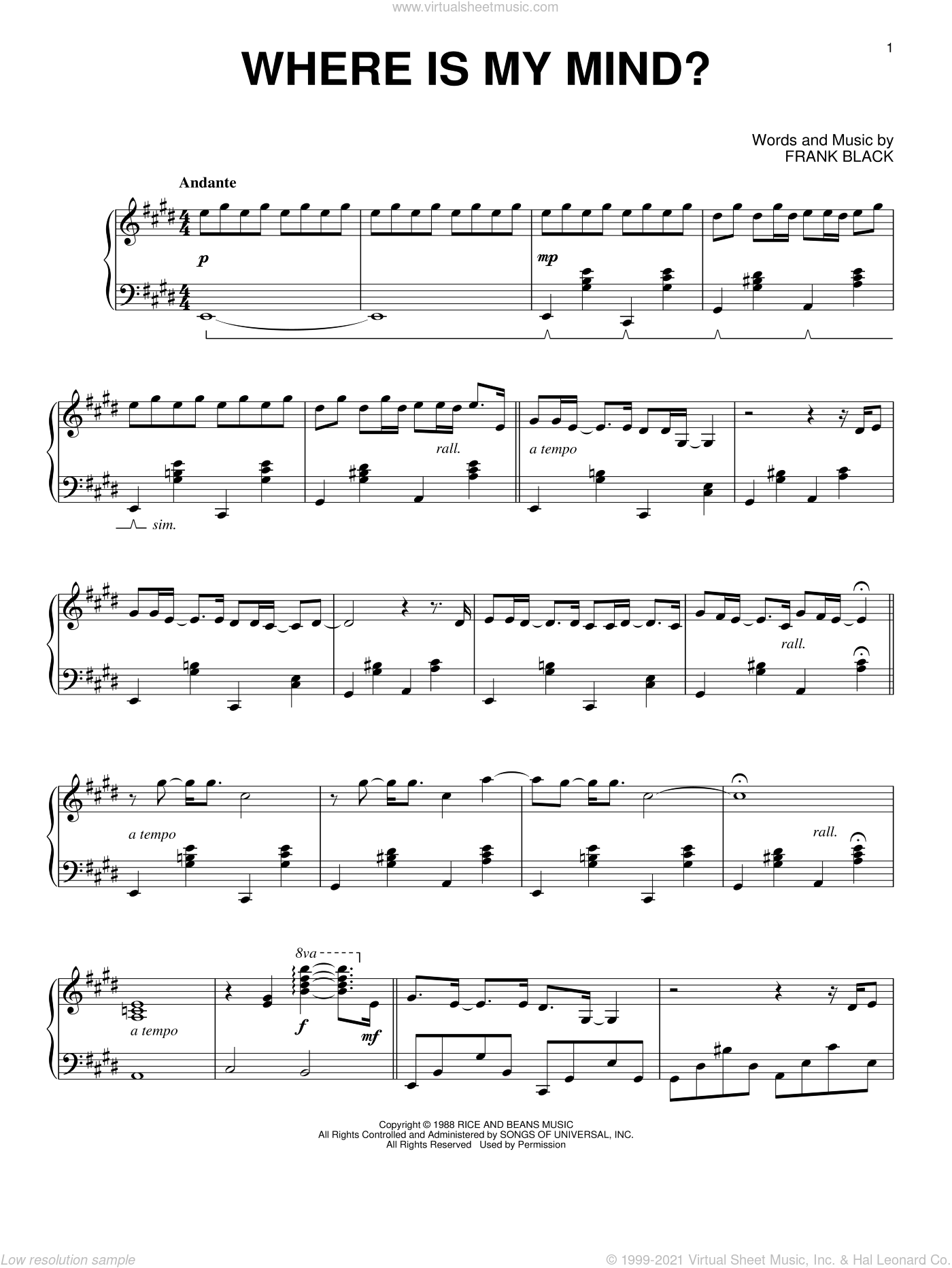 Where Is My Mind? sheet music for piano solo by Maxence Cyrin, Pixies and Francis Black, intermediate skill level