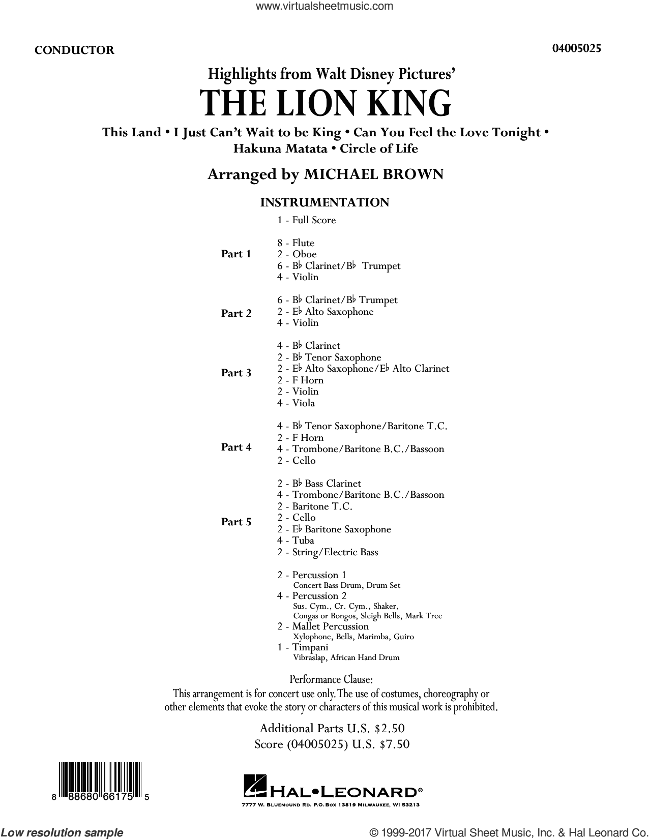 Highlights from The Lion King (COMPLETE) sheet music for concert band by Michael Brown, intermediate skill level