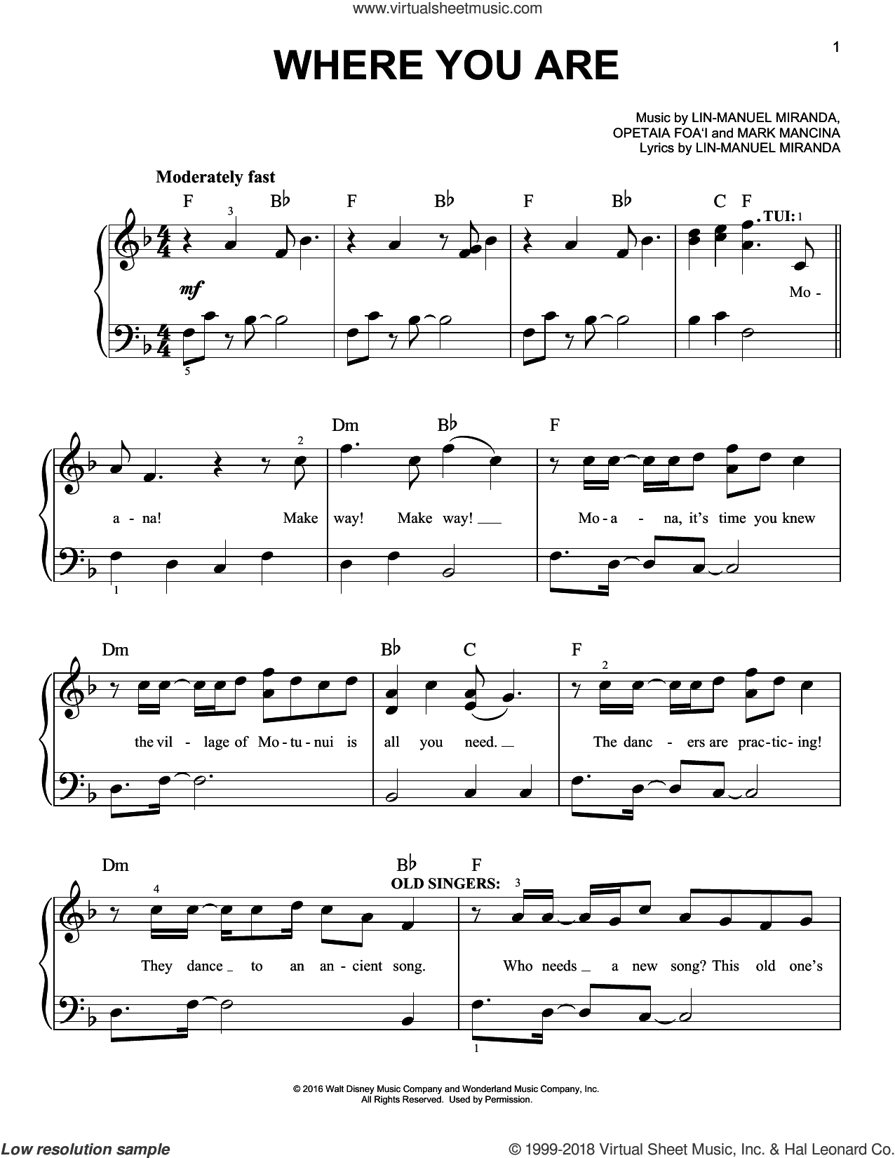 Where You Are (from Moana) sheet music for piano solo by Lin-Manuel Miranda and Mark Mancina, easy skill level