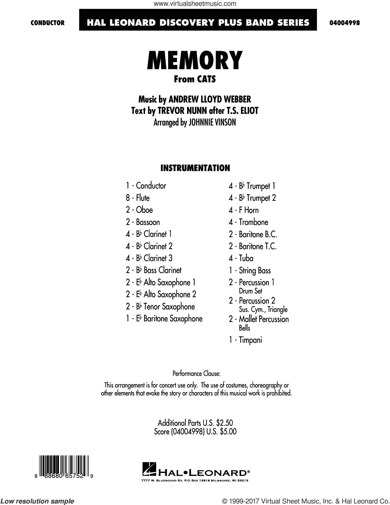 Memory (from Cats) (arr. Johnnie Vinson) (COMPLETE) sheet music for concert band by Andrew Lloyd Webber, Barbra Streisand, Johnnie Vinson and Trevor Nunn, intermediate skill level