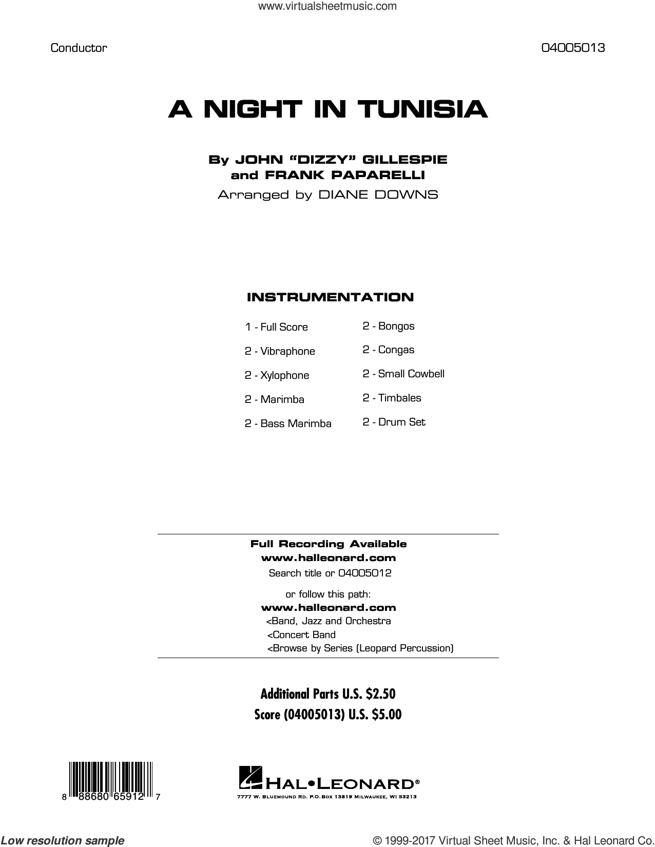 A Night in Tunisia (COMPLETE) sheet music for concert band by Dizzy Gillespie, Diane Downs and Frank Paparelli, intermediate skill level