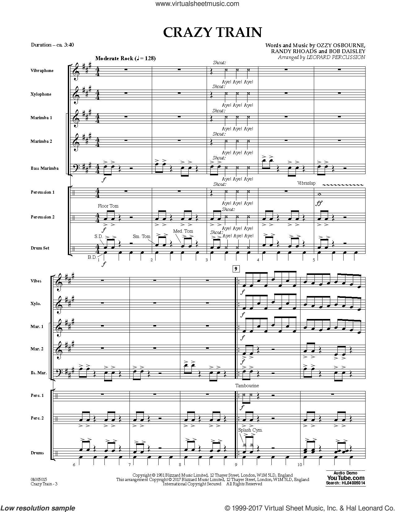 Crazy Train (COMPLETE) sheet music for concert band by Ozzy Osbourne, Black Sabbath, Bob Daisley, Diane Downs and Randy Rhoads, intermediate skill level