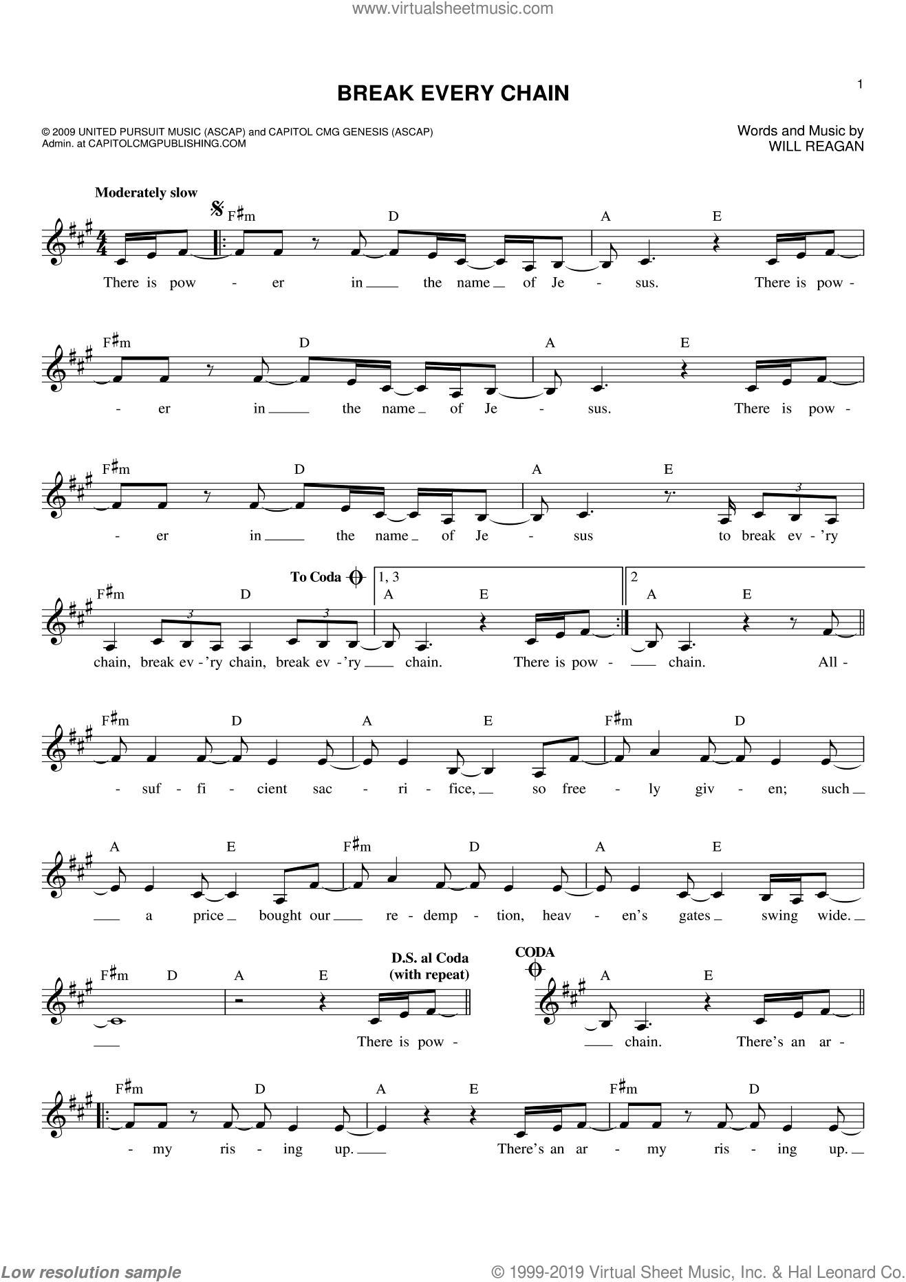 Break Every Chain sheet music for voice and other instruments (fake book) by Will Reagan, intermediate skill level