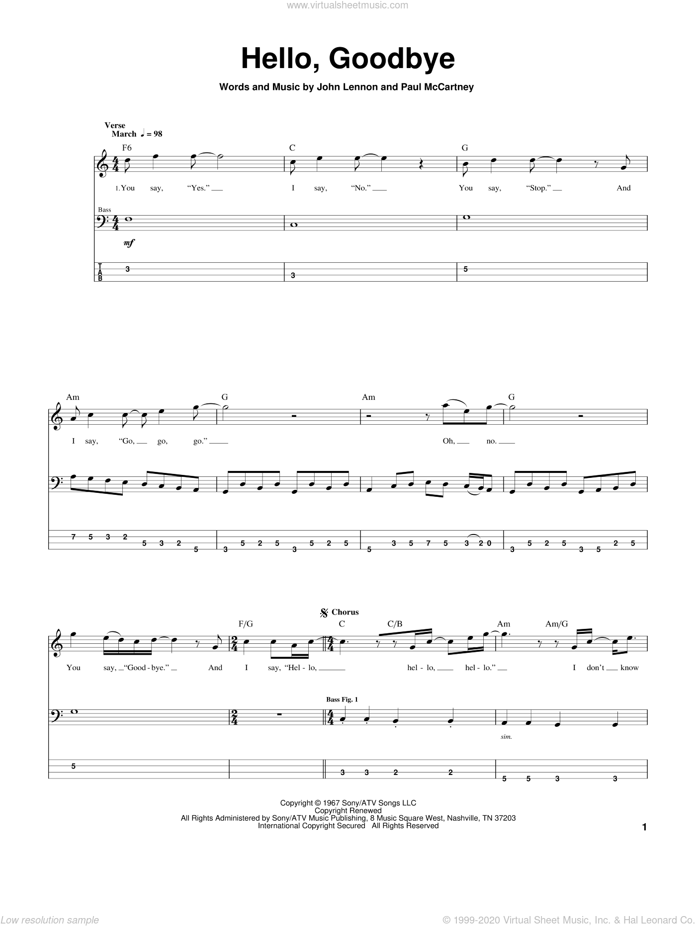 Hello, Goodbye sheet music for bass (tablature) (bass guitar) by Paul McCartney, The Beatles and John Lennon. Score Image Preview.