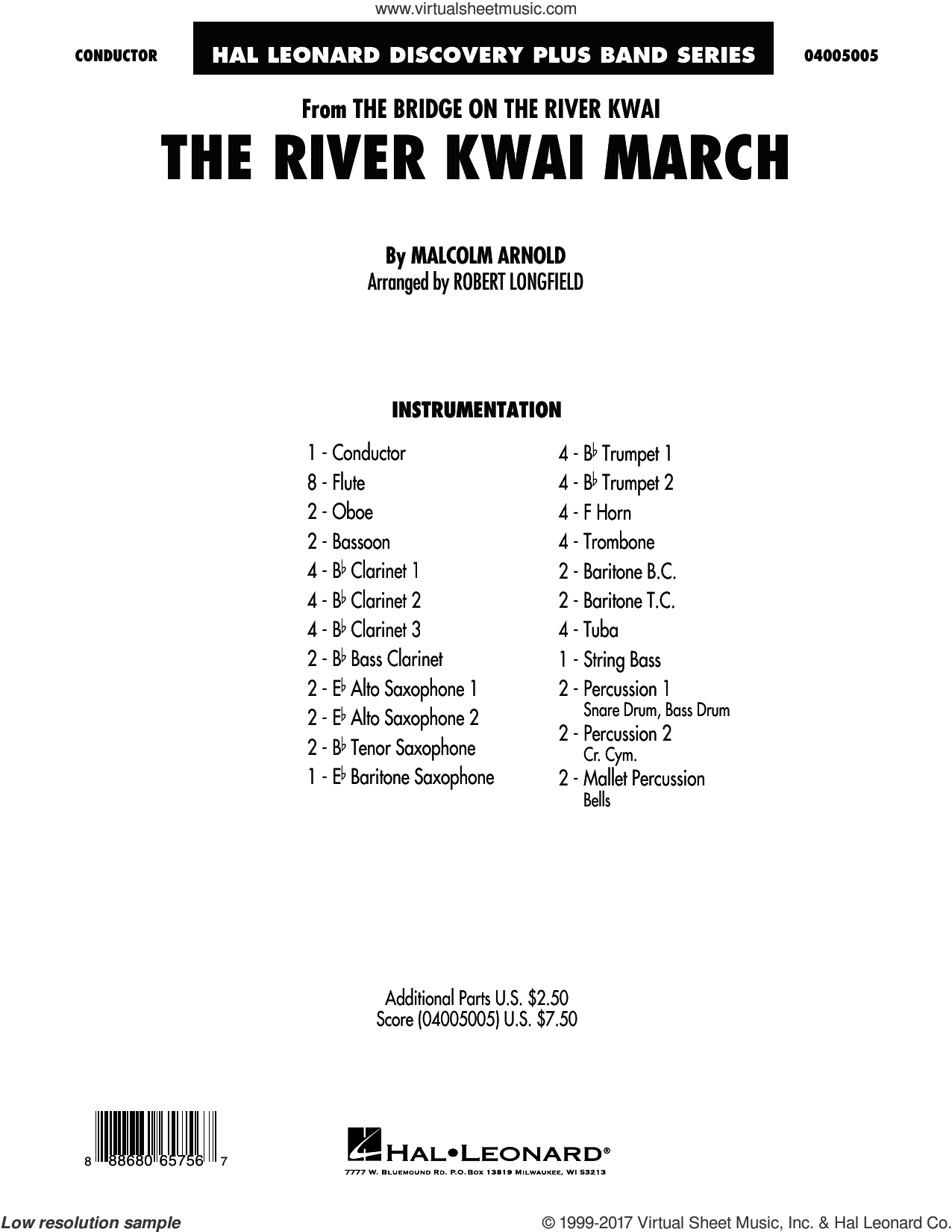 The River Kwai March (COMPLETE) sheet music for concert band by Robert Longfield and Malcolm Arnold, intermediate. Score Image Preview.