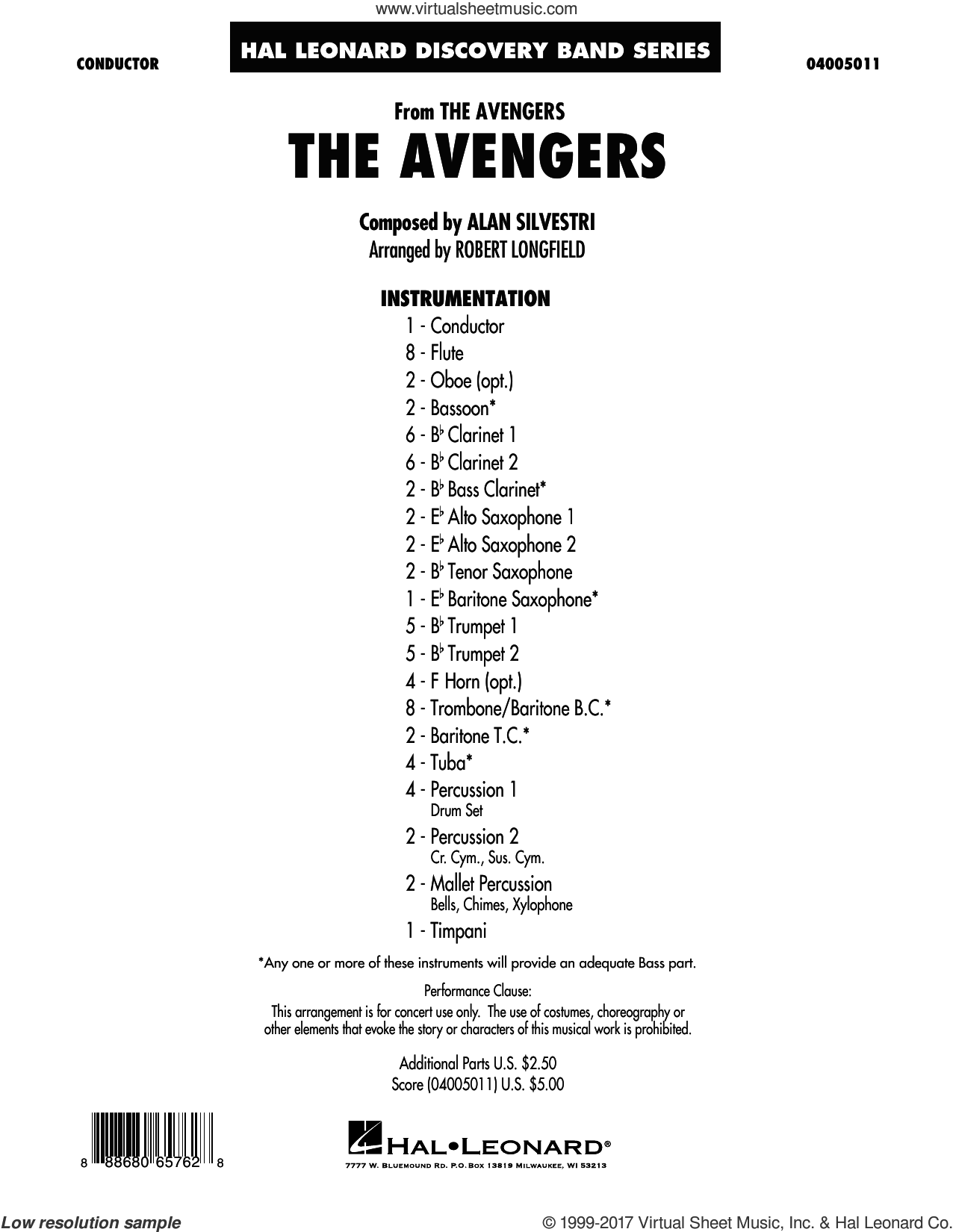 Longfield - The Avengers sheet music (complete collection) for concert band