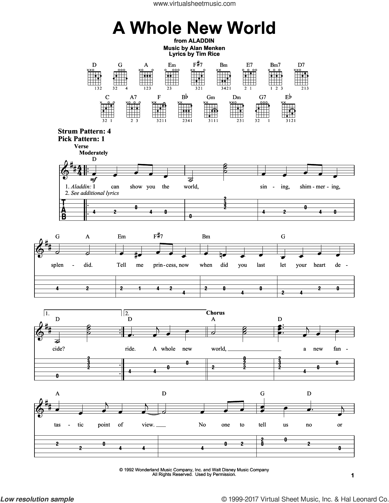 A Whole New World sheet music for guitar solo (easy tablature) by Tim Rice and Alan Menken, easy guitar (easy tablature)