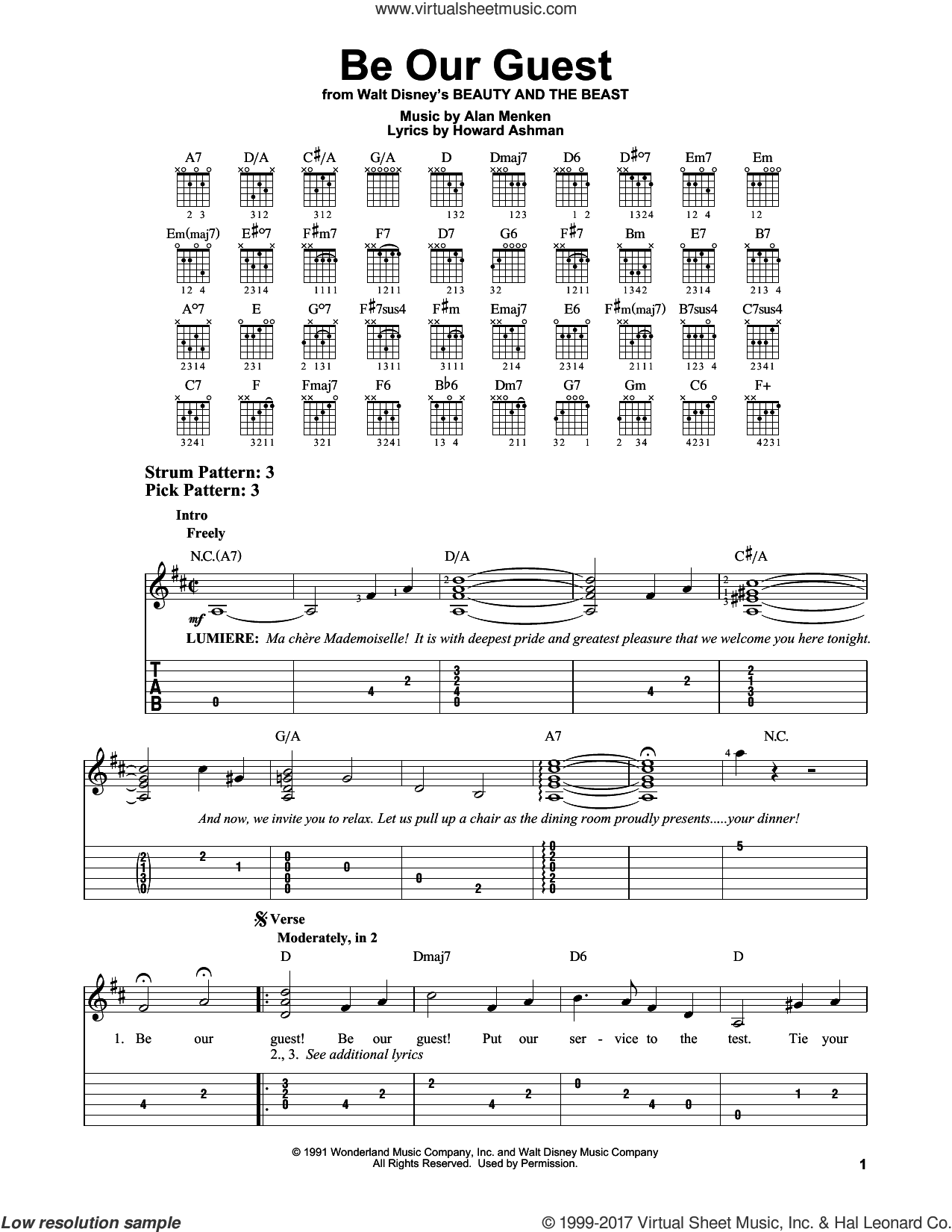 Be Our Guest sheet music for guitar solo (easy tablature) by Howard Ashman and Alan Menken, easy guitar (easy tablature)
