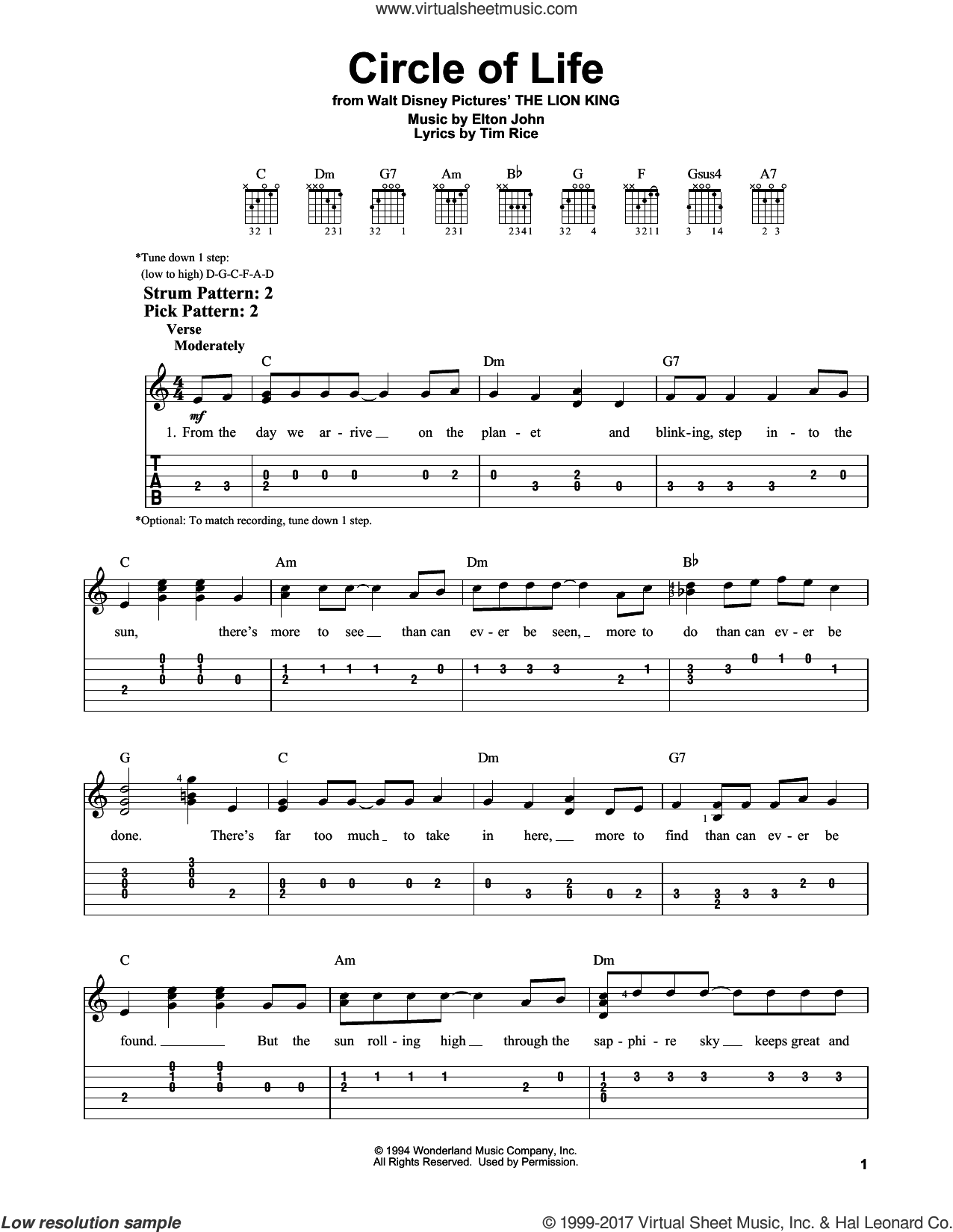 Circle Of Life sheet music for guitar solo (easy tablature) by Tim Rice and Elton John. Score Image Preview.