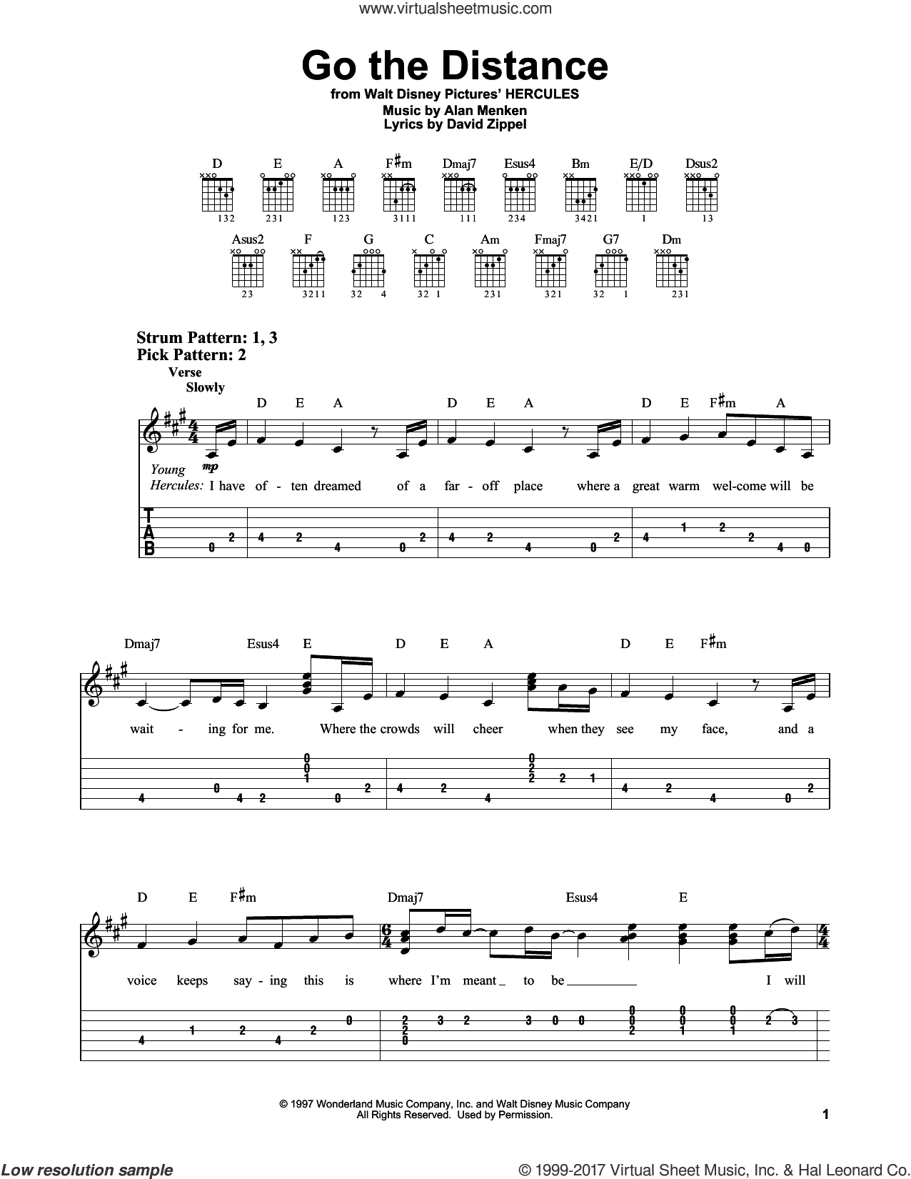 Go The Distance sheet music for guitar solo (easy tablature) by Michael Bolton, Alan Menken and David Zippel, easy guitar (easy tablature)