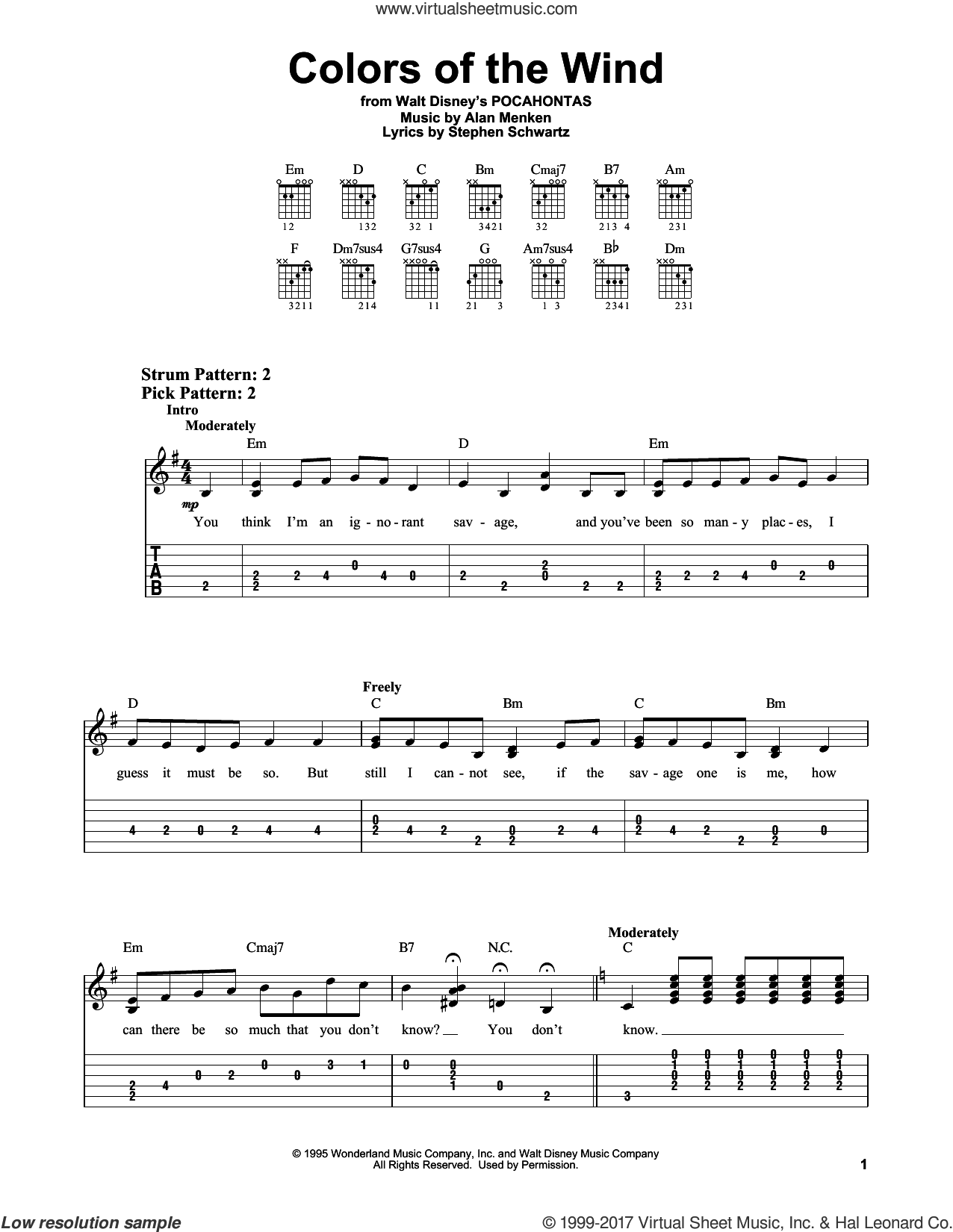 Colors Of The Wind sheet music for guitar solo (easy tablature) by Vanessa Williams, Alan Menken and Stephen Schwartz, easy guitar (easy tablature)