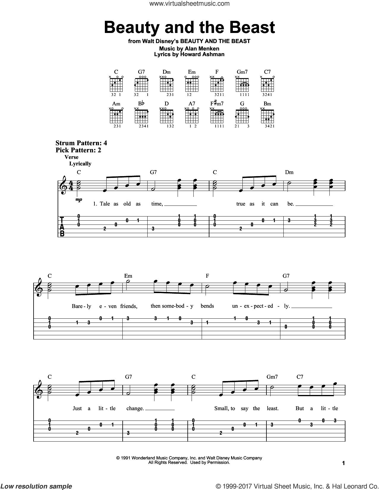 Beauty And The Beast sheet music for guitar solo (easy tablature) by Celine Dion & Peabo Bryson, Alan Menken and Howard Ashman, easy guitar (easy tablature). Score Image Preview.