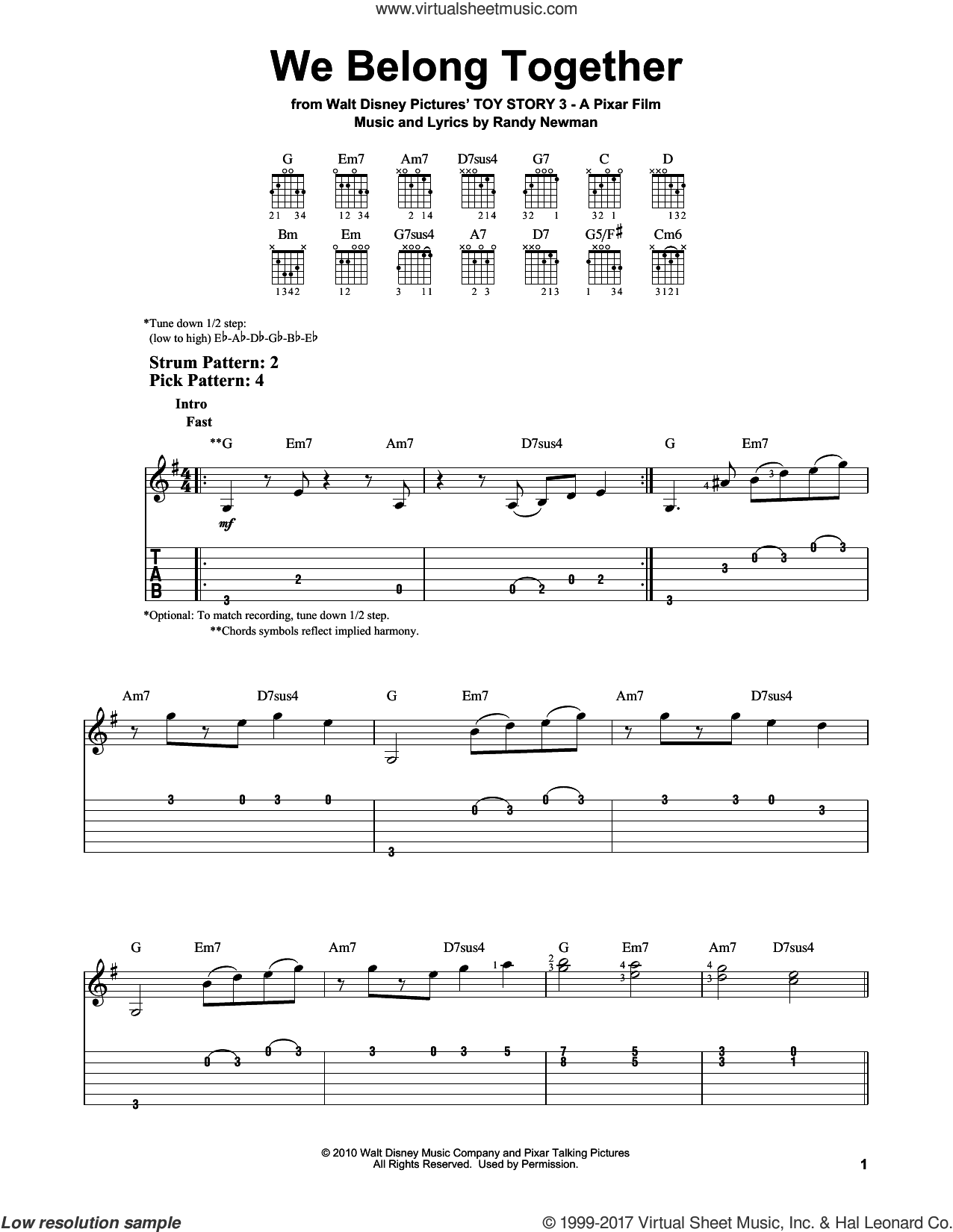 We Belong Together sheet music for guitar solo (easy tablature) by Randy Newman, easy guitar (easy tablature). Score Image Preview.