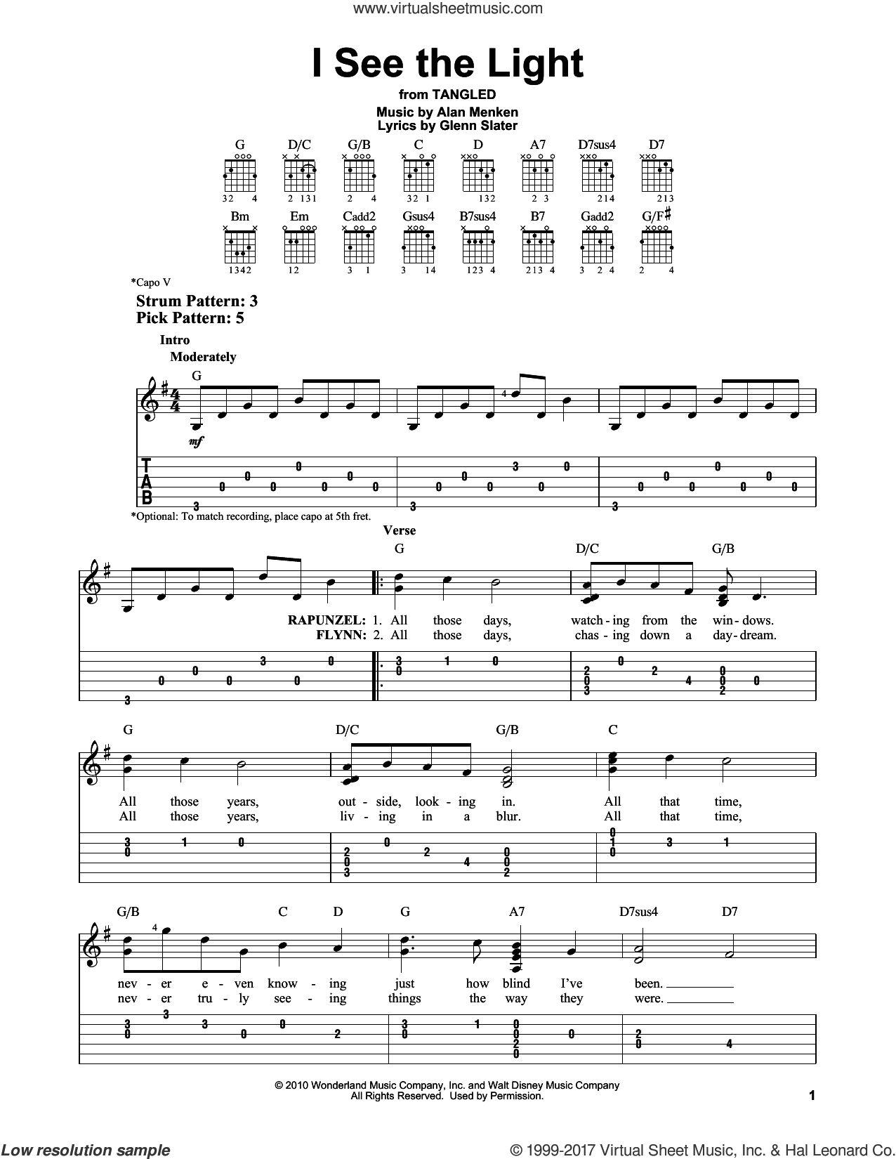 I See The Light sheet music for guitar solo (easy tablature) by Glenn Slater and Alan Menken. Score Image Preview.