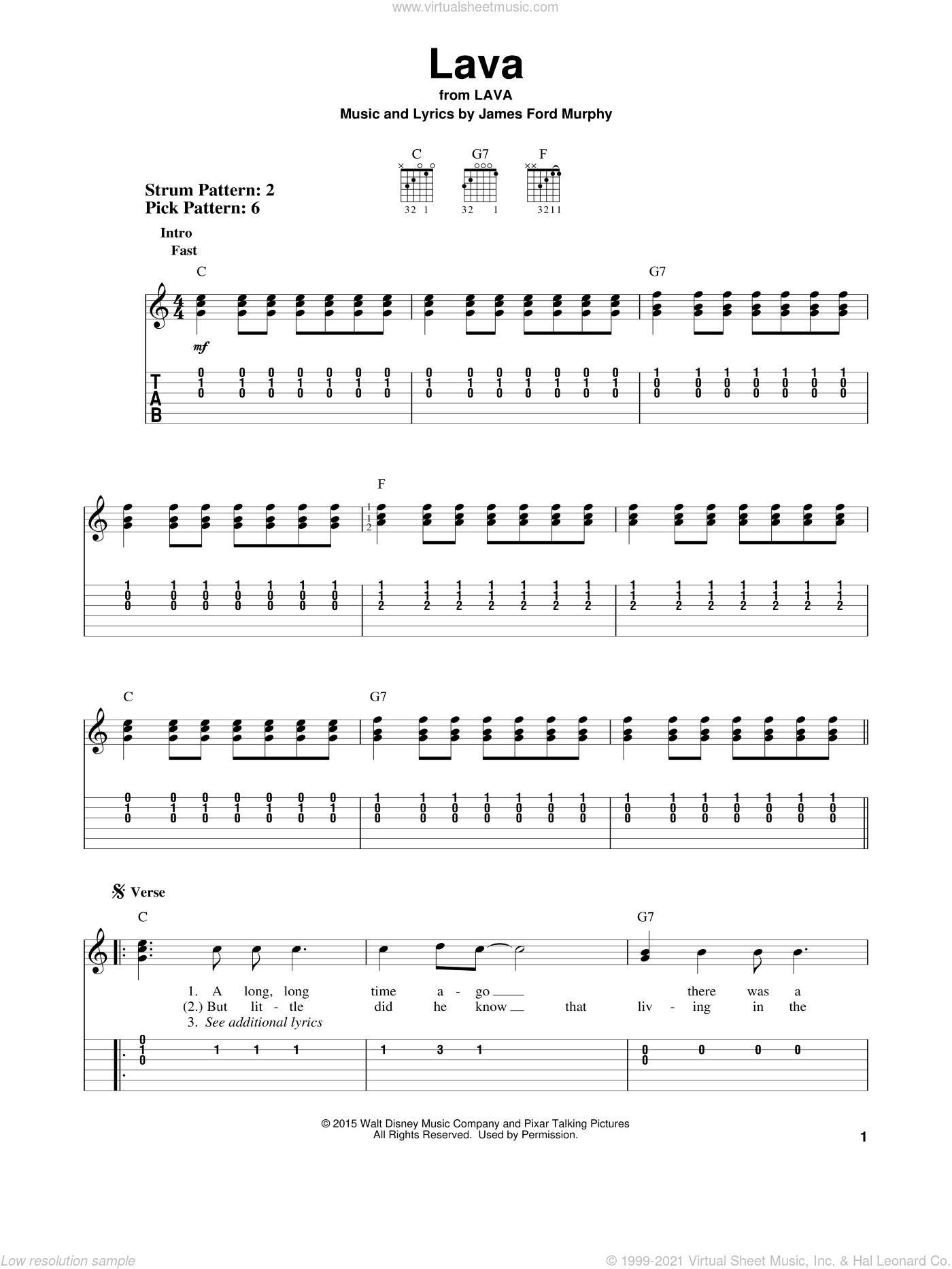 Lava sheet music for guitar solo (easy tablature) by James Ford Murphy. Score Image Preview.