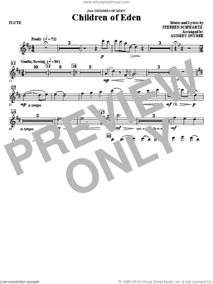 Children of Eden (complete set of parts) sheet music for orchestra/band (Special) by Audrey Snyder and Stephen Schwartz, intermediate. Score Image Preview.