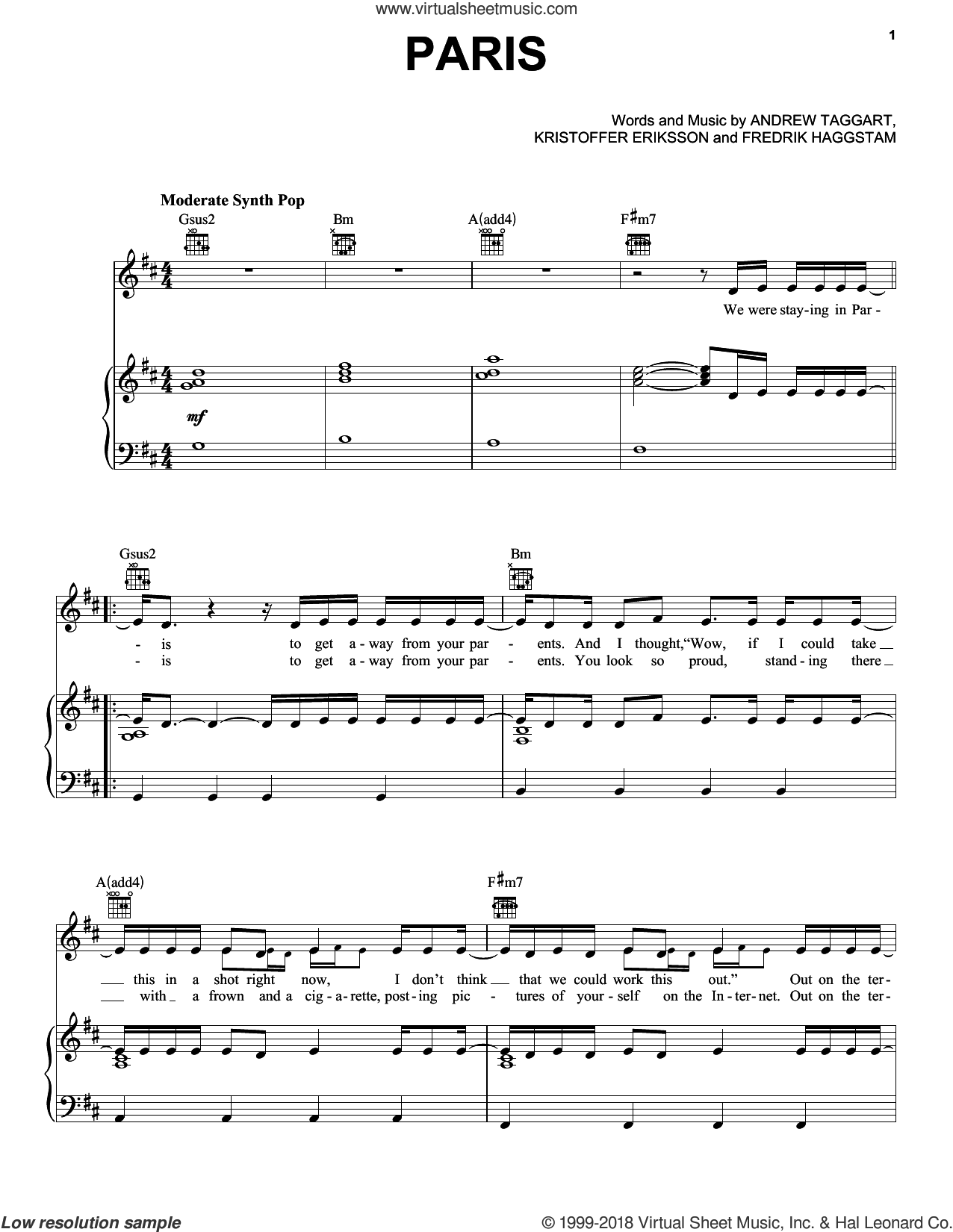 Paris sheet music for voice, piano or guitar by The Chainsmokers, Andrew Taggart, Fredrik Haggstam and Kristoffer Eriksson, intermediate. Score Image Preview.