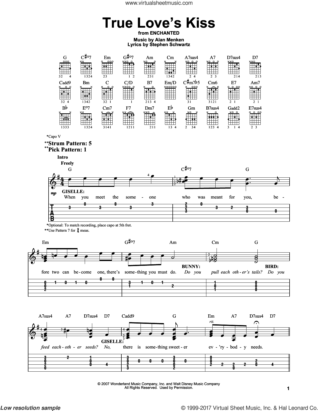 True Love's Kiss sheet music for guitar solo (easy tablature) by Alan Menken and Stephen Schwartz, easy guitar (easy tablature)