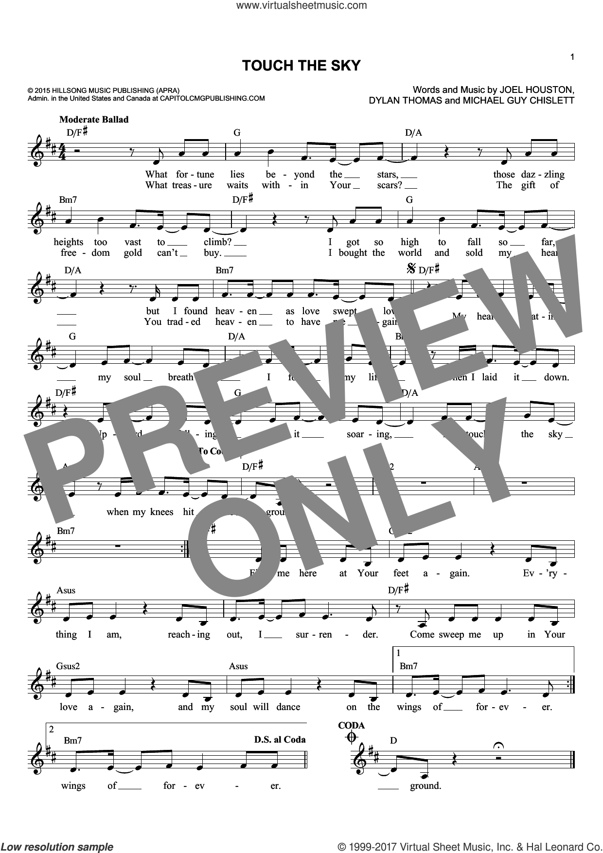 Touch The Sky sheet music for voice and other instruments (fake book) by Hillsong United, Dylan Thomas, Joel Houston and Michael Guy Chislett, intermediate skill level