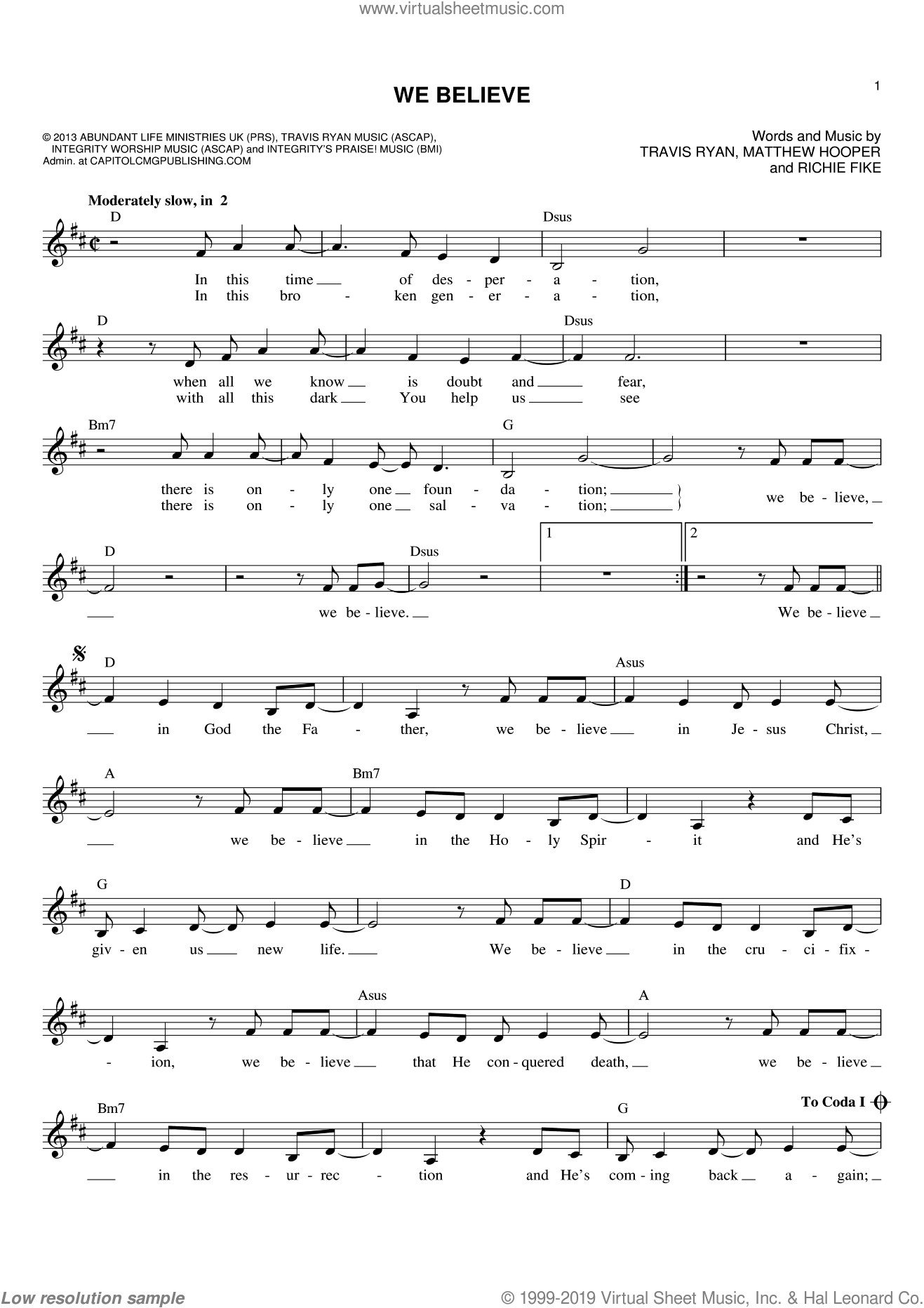 We Believe sheet music for voice and other instruments (fake book) by Newsboys, Matthew Hooper, Richie Fike and Travis Ryan, intermediate skill level