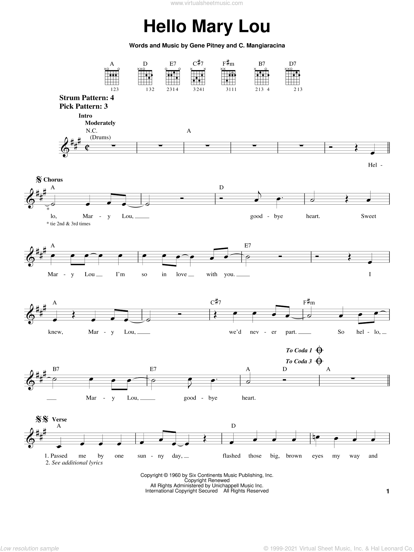 Hello Mary Lou sheet music for guitar solo (chords) by Ricky Nelson, Creedence Clearwater Revival, The Statler Brothers, C. Mangiaracina and Gene Pitney, easy guitar (chords)