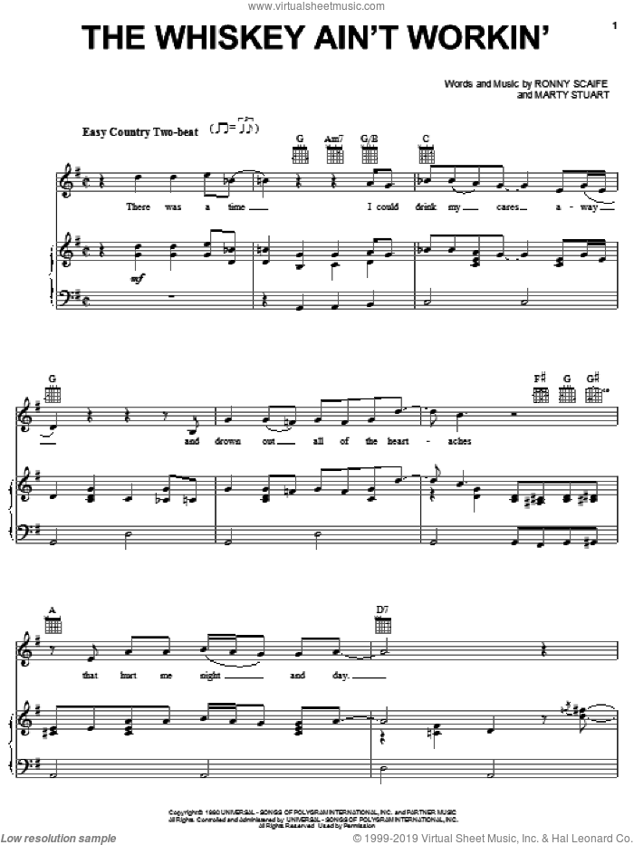 The Whiskey Ain't Workin' sheet music for voice, piano or guitar by Travis Tritt and Marty Stuart, Travis Tritt, Marty Stuart and Ronny Scaife, intermediate