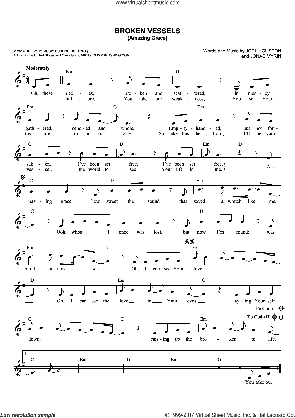 Broken Vessels (Amazing Grace) sheet music for voice and other instruments (fake book) by Joel Houston, Hillsong Worship and Jonas Myrin, intermediate skill level