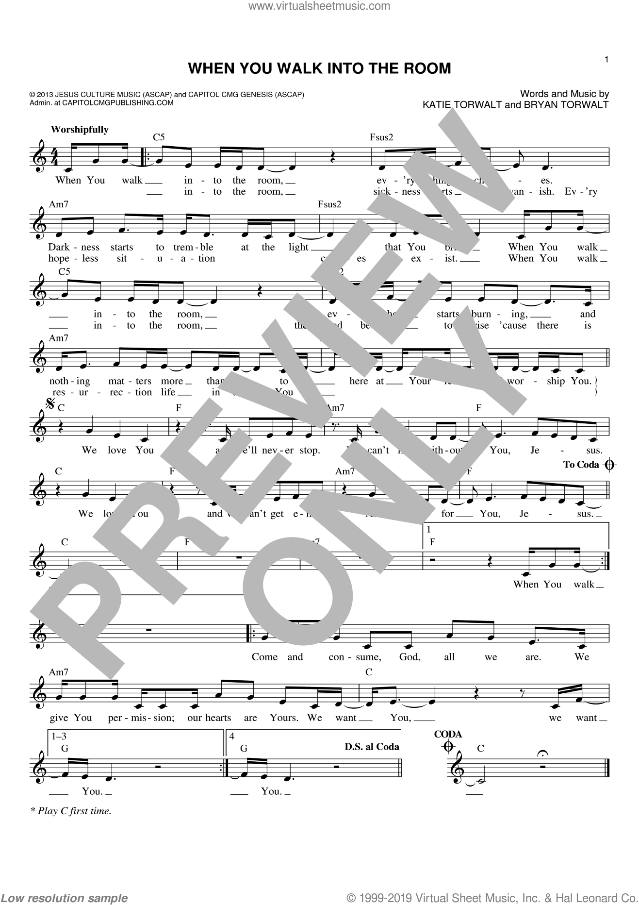 When You Walk Into The Room sheet music for voice and other instruments (fake book) by Bryan Torwalt and Katie Torwalt, intermediate skill level